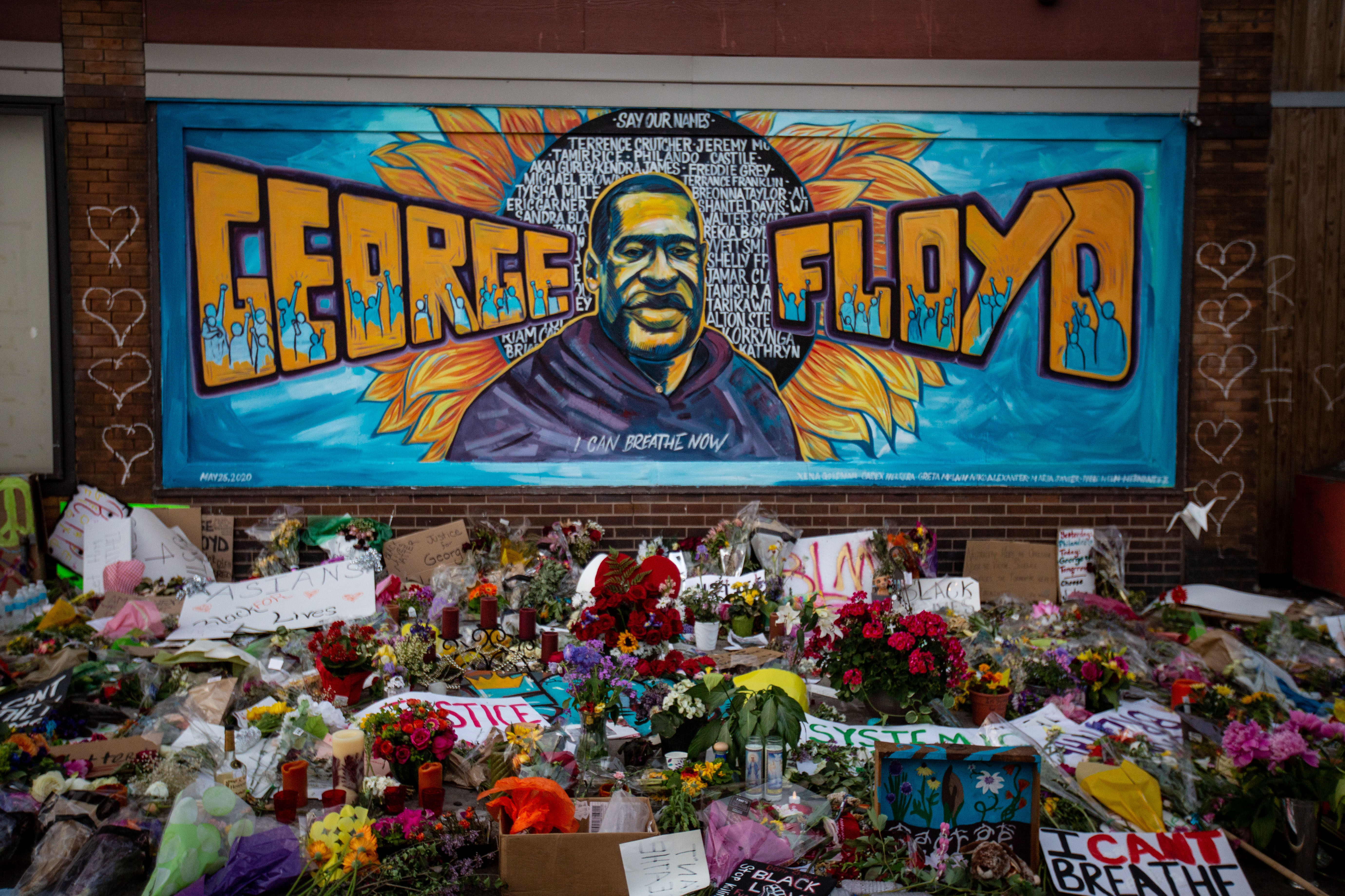 A makeshift memorial for and mural of George Floyd is seen in Minneapolis on May 31.