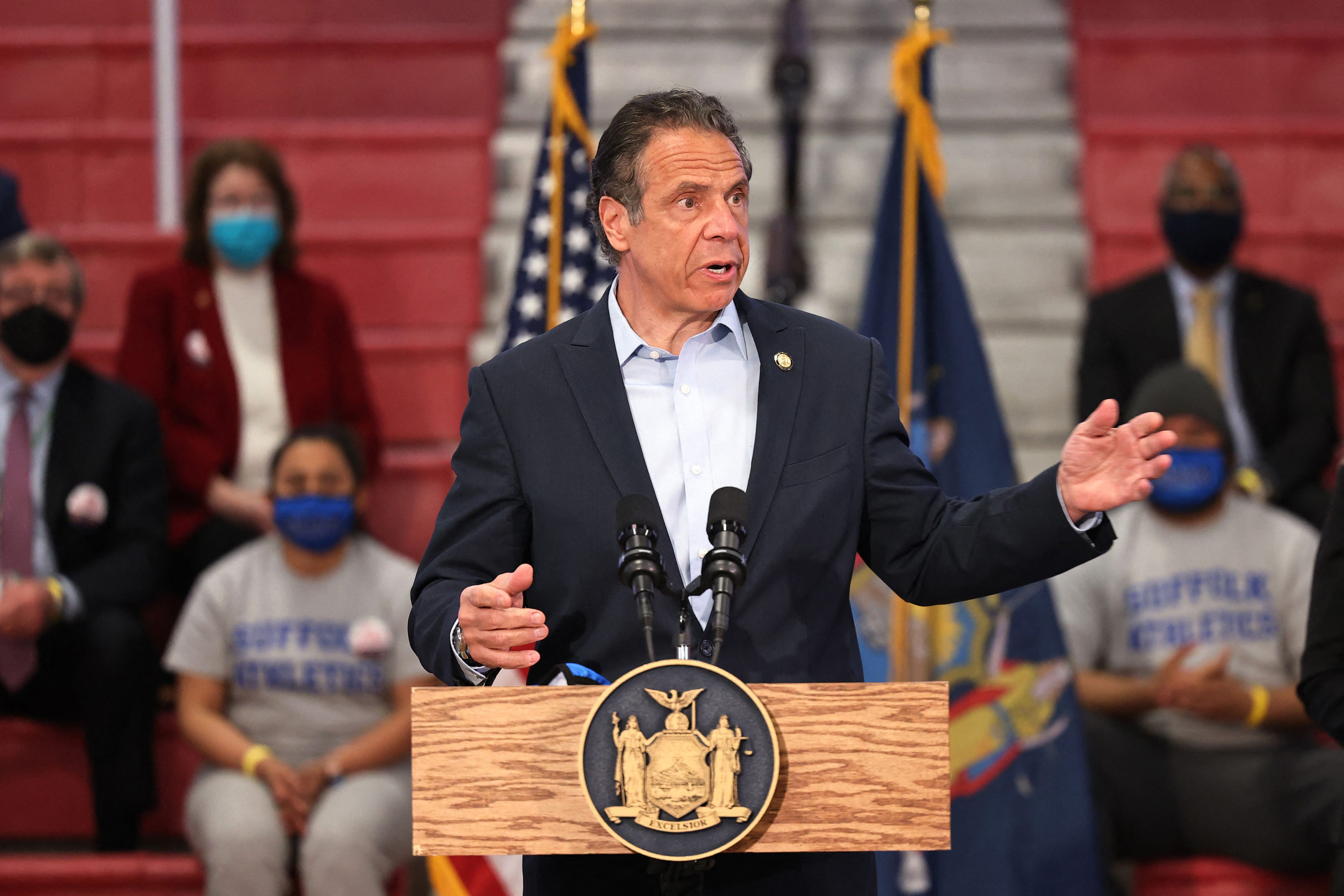 Governor Andrew Cuomo speaks during a press conference at Suffolk County Community College on April 12 in Brentwood, New York.