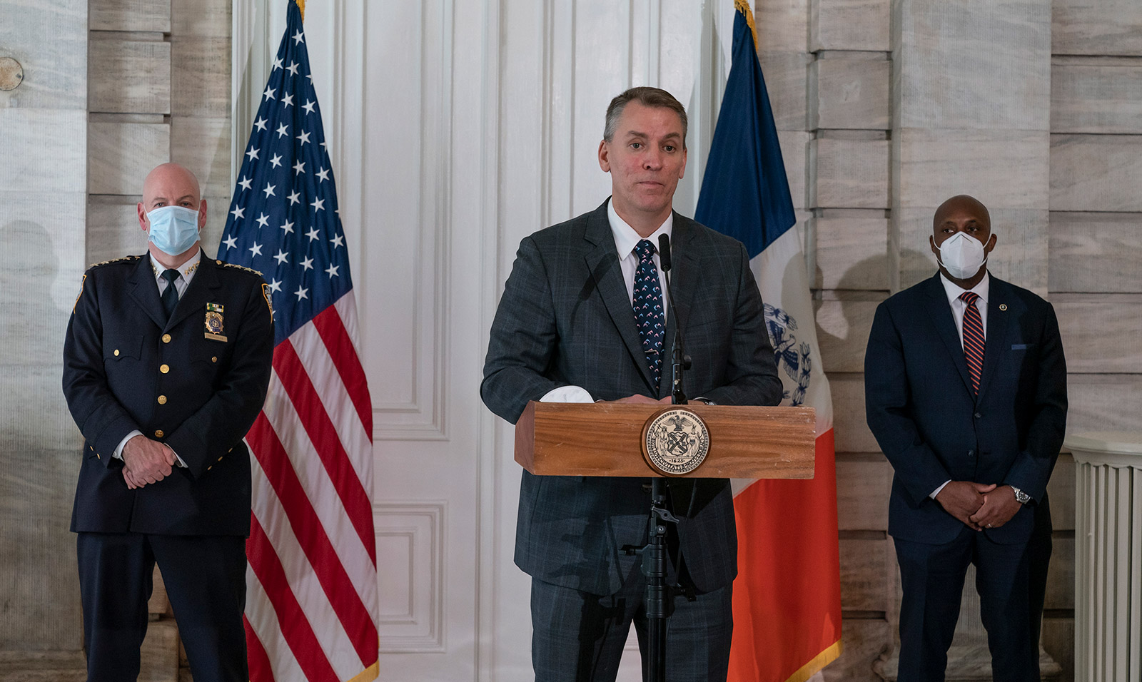 New York City Police Commissioner Dermot Shea speaks to the media on May 29.