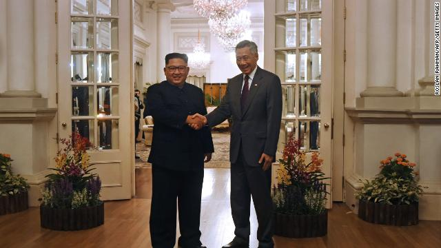 Singapore's Prime Minister Lee Hsien Loong welcomes Kim to the city-state ahead of the North Korean leader's summit with Trump last year.