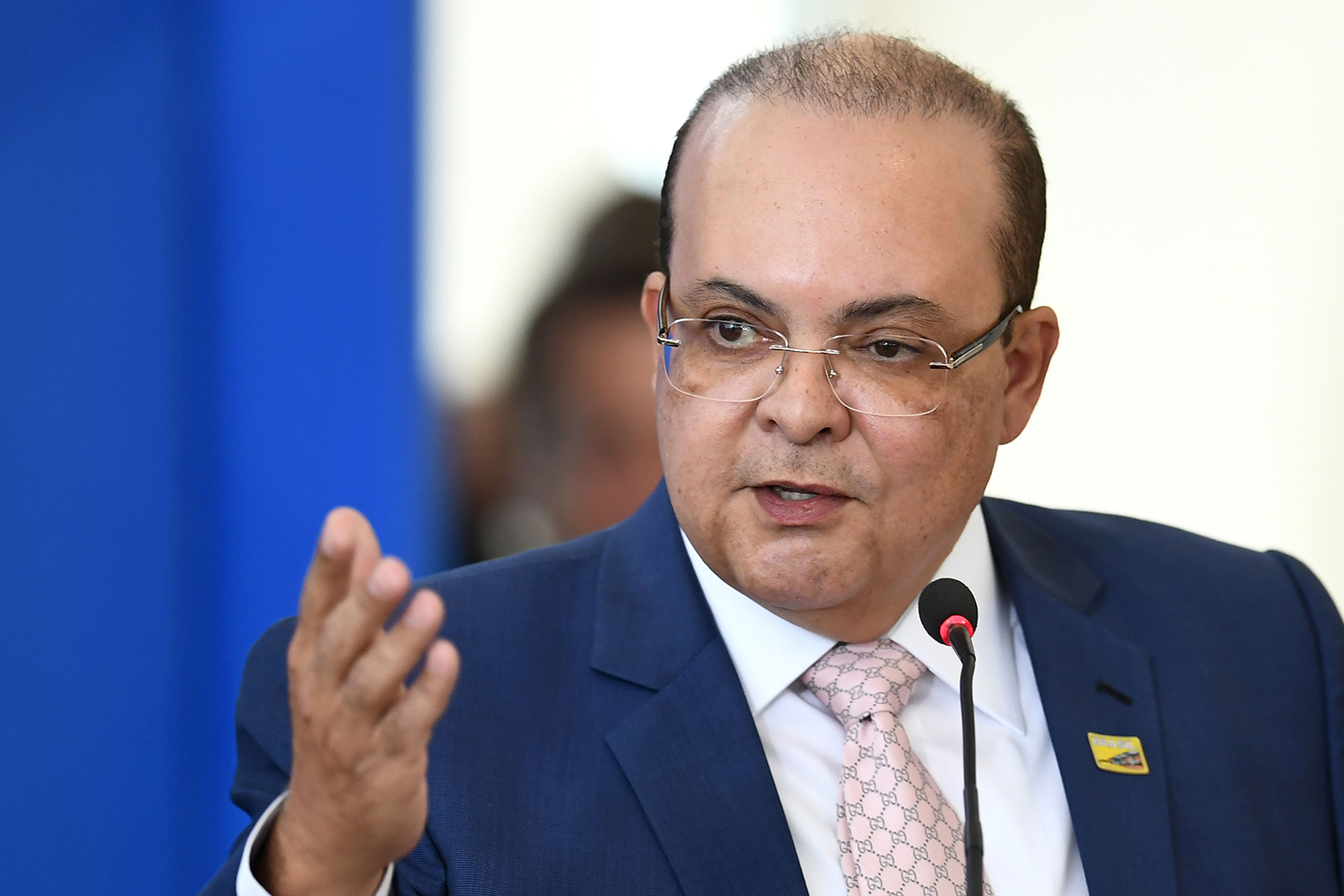 Brazilian Federal District Gov. Ibaneis Rocha delivers a speech at Planalto Palace in Brasilia, Brazil on August 28, 2019.