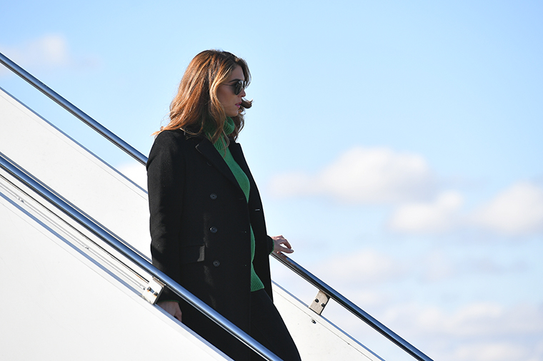 Hope Hicks steps off Air Force One upon arrival at Trenton-Mercer Airport in Ewing Township, New Jersey, on October 31, 2020.