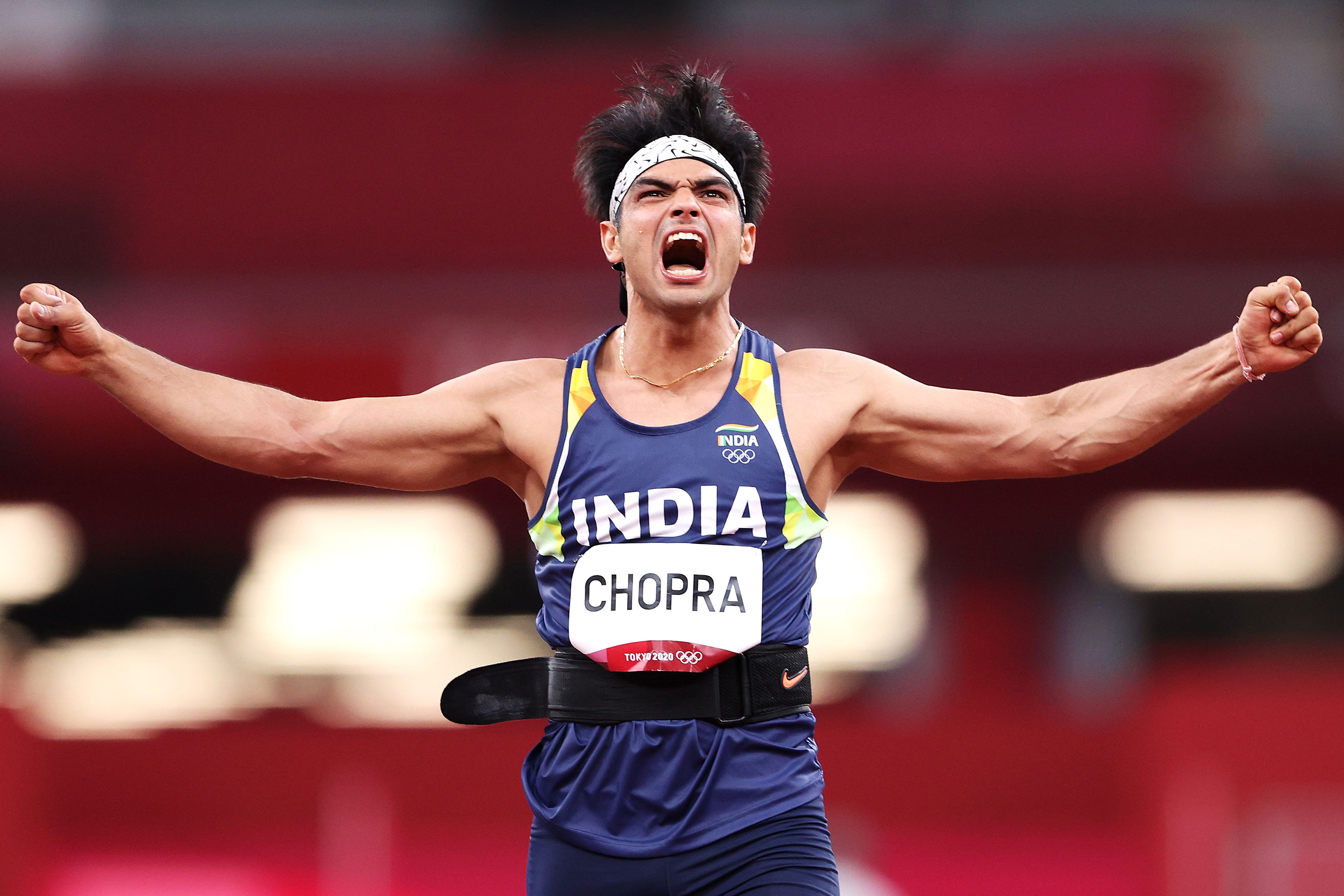 Neeraj Chopra of India reacts while competing in the javelin throw final on Saturday.