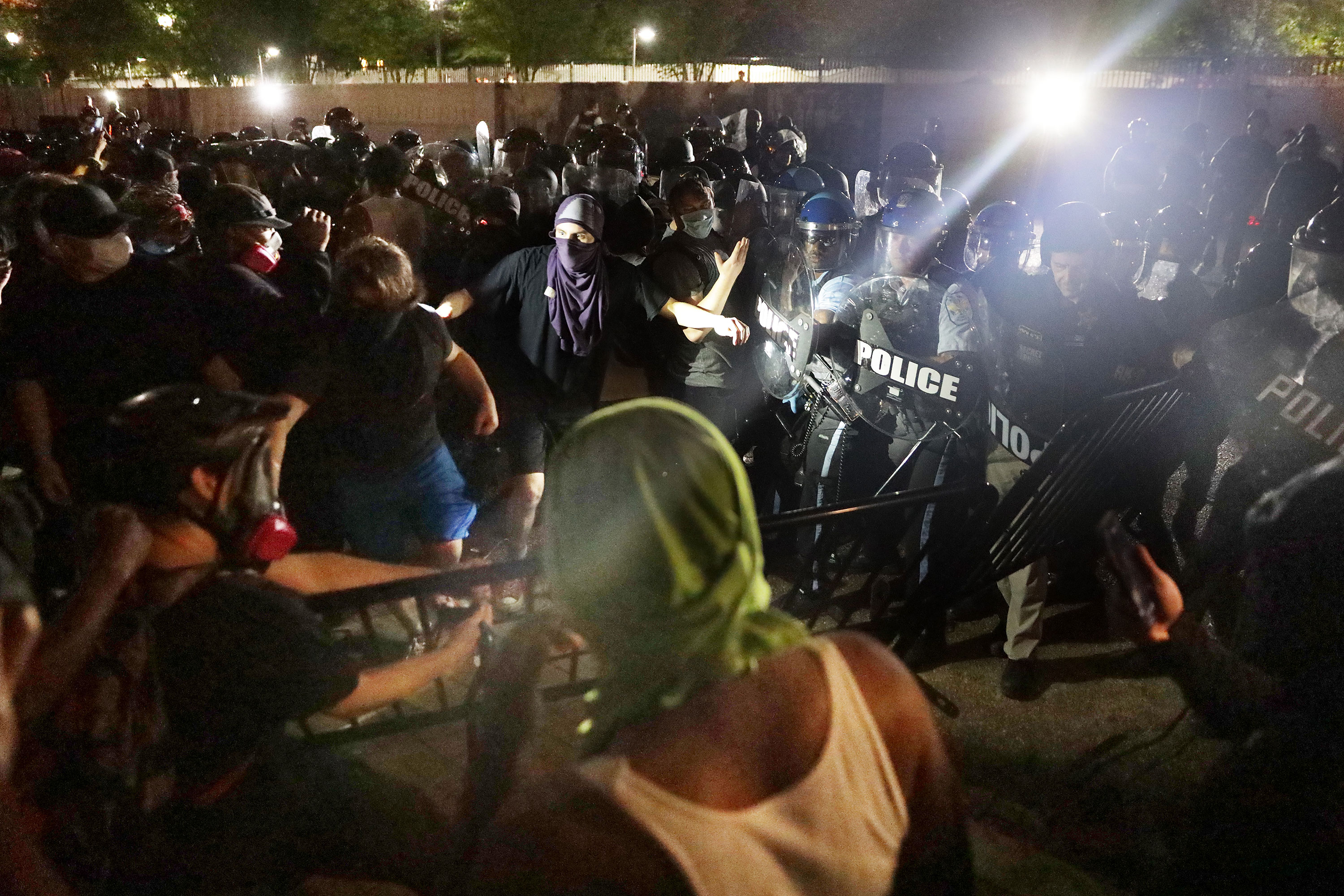 Protesters clash with police in Lafayette Square Park in Washington on May 30.