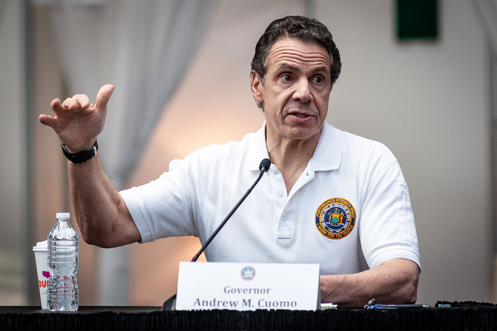 New York Gov. Andrew Cuomo speaks during a press conference at the Javits Center on March 27.