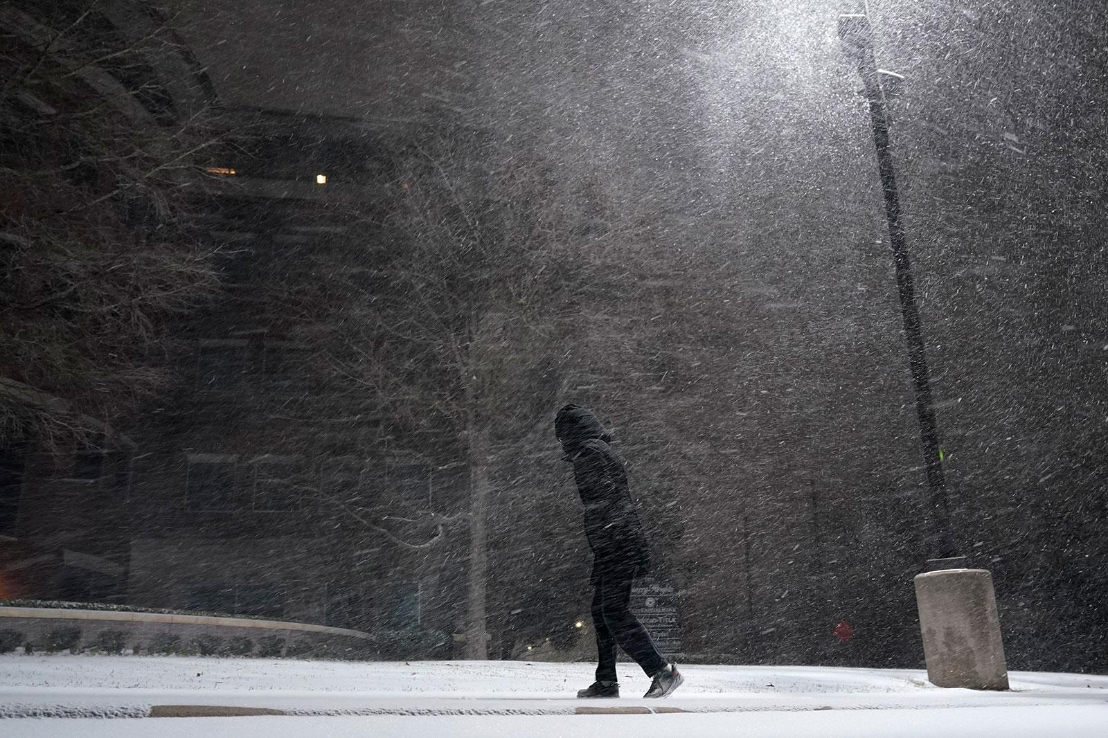 Snow falls in San Antonio, Texas, on February 14.