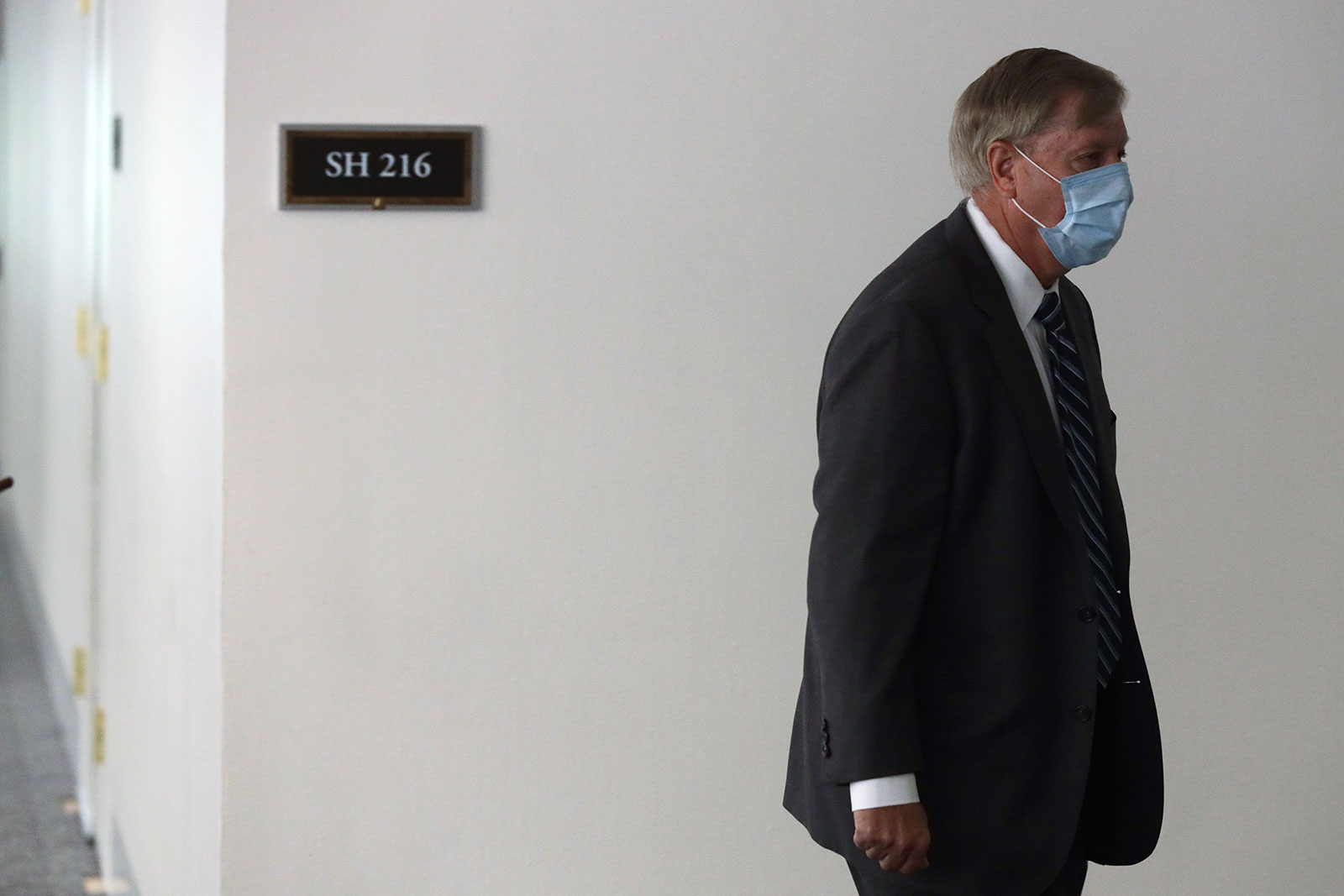 Sen. Lindsey Graham arrives at the Hart Senate Office Building on May 12.