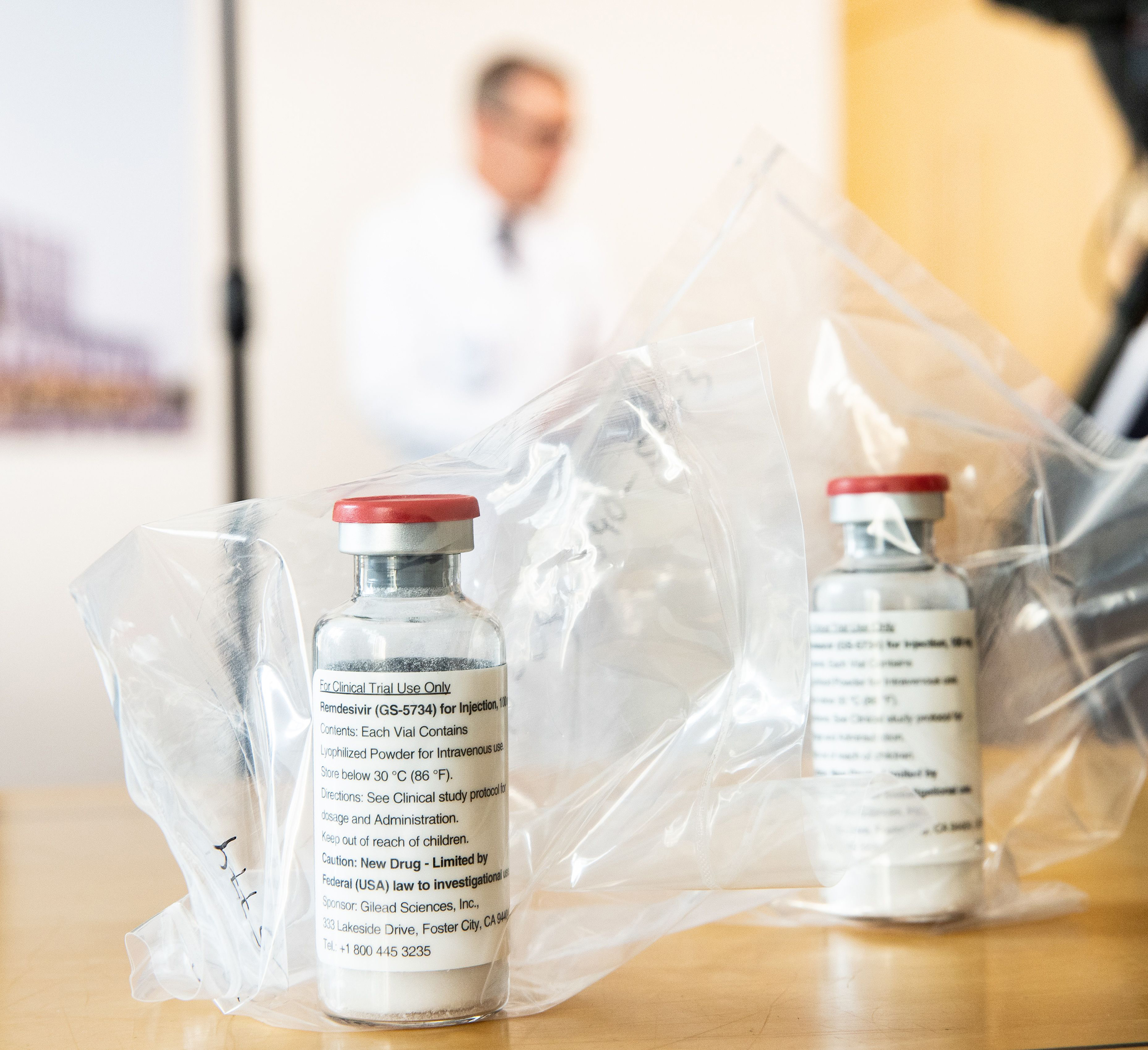 Vials of the drug Remdesivir lie during a press conference about the start of a study with the Ebola drug Remdesivir in particularly severely ill patients at the University Hospital Eppendorf (UKE) in Hamburg, northern Germany on April 8.