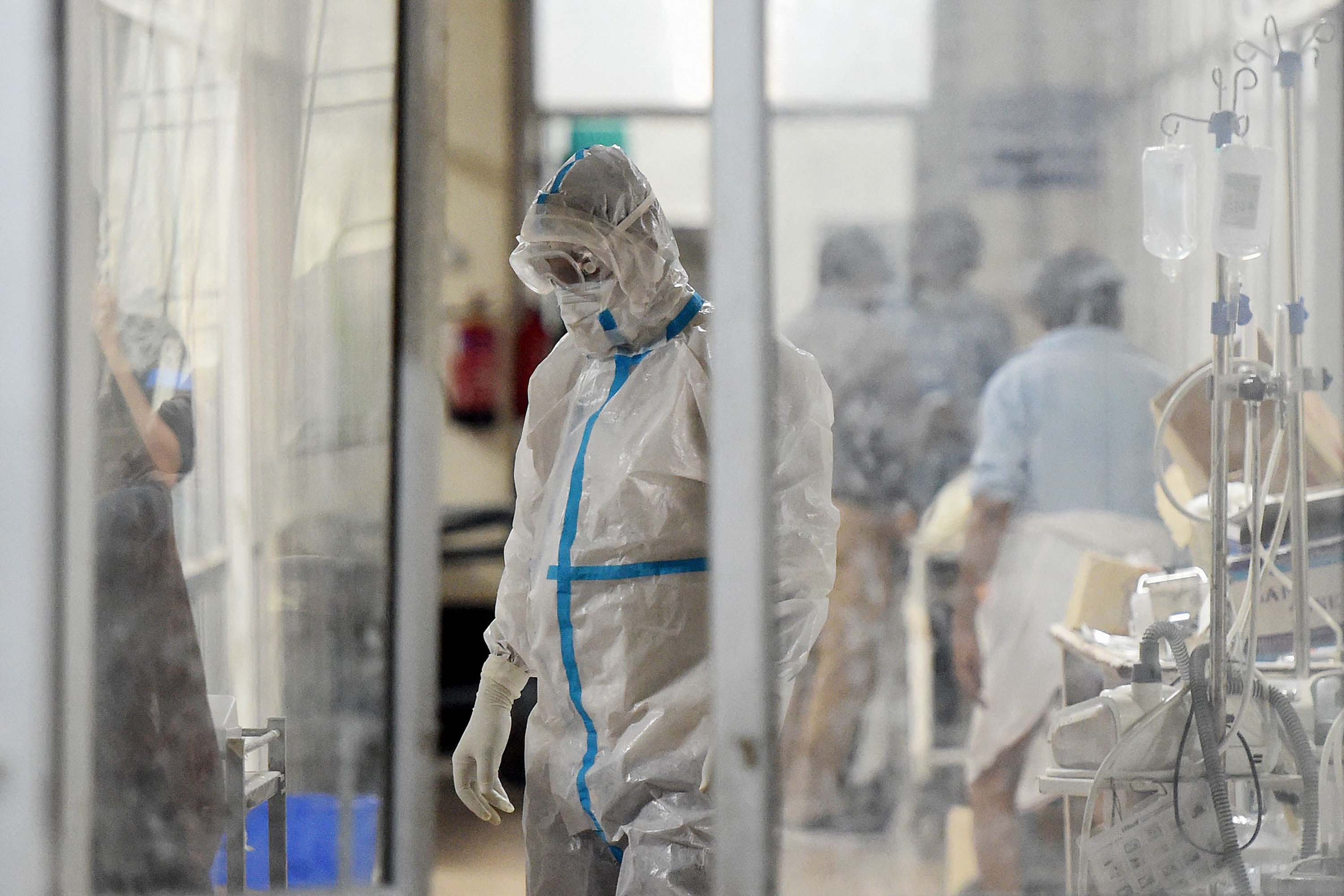 A health worker is seen inside a Covid-19 ward at the SRN hospital, in Allahabad, India, on May 3.