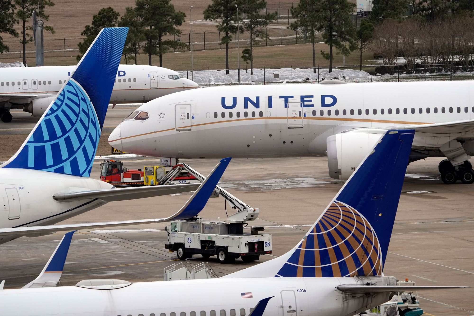 A United Airlines jet is towed at George Bush Intercontinental Airport on February 16 in Houston, Texas.