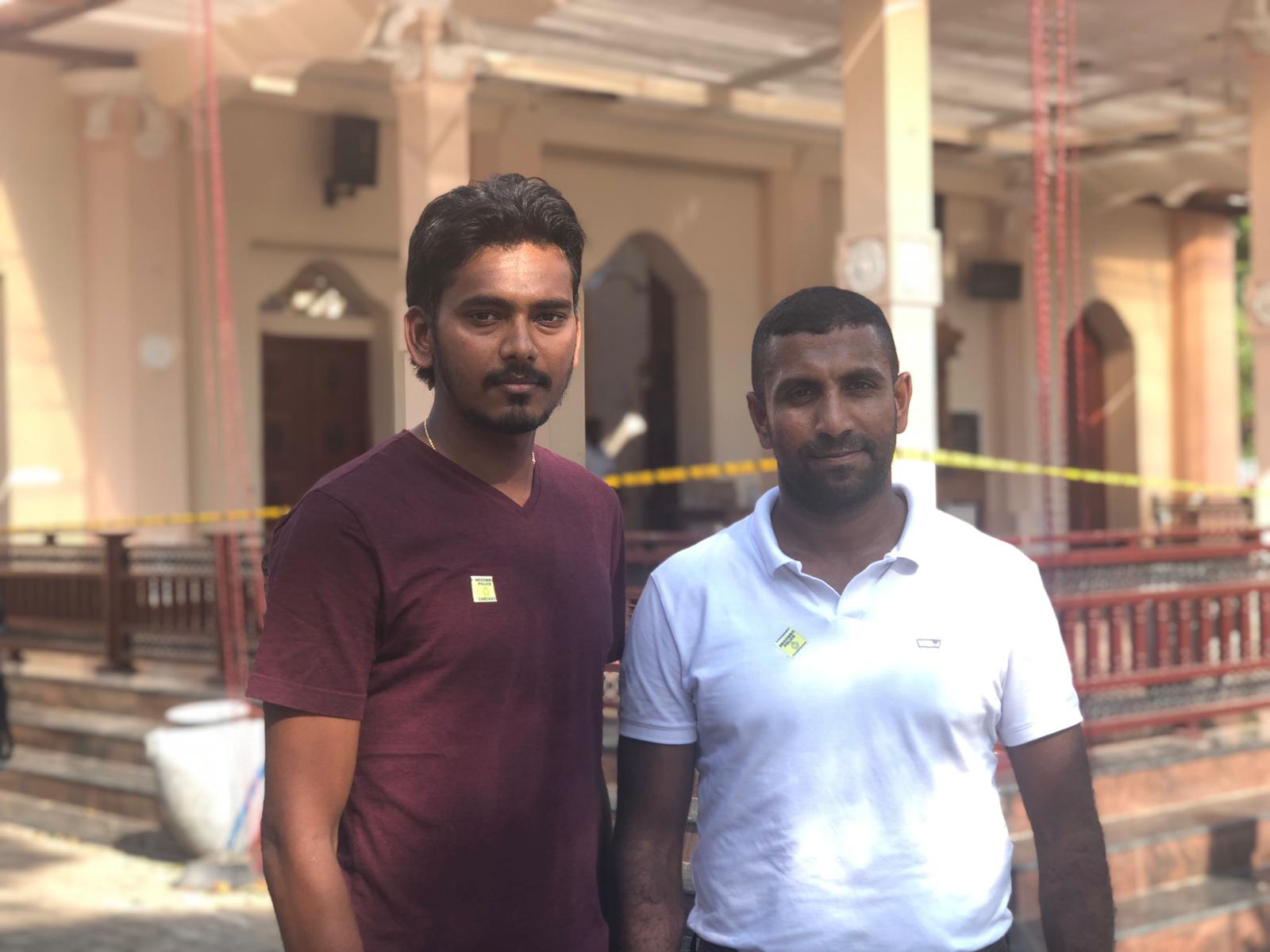 Cricketers Dushmantha Chameera, left, and Dhammika Prasad, right.