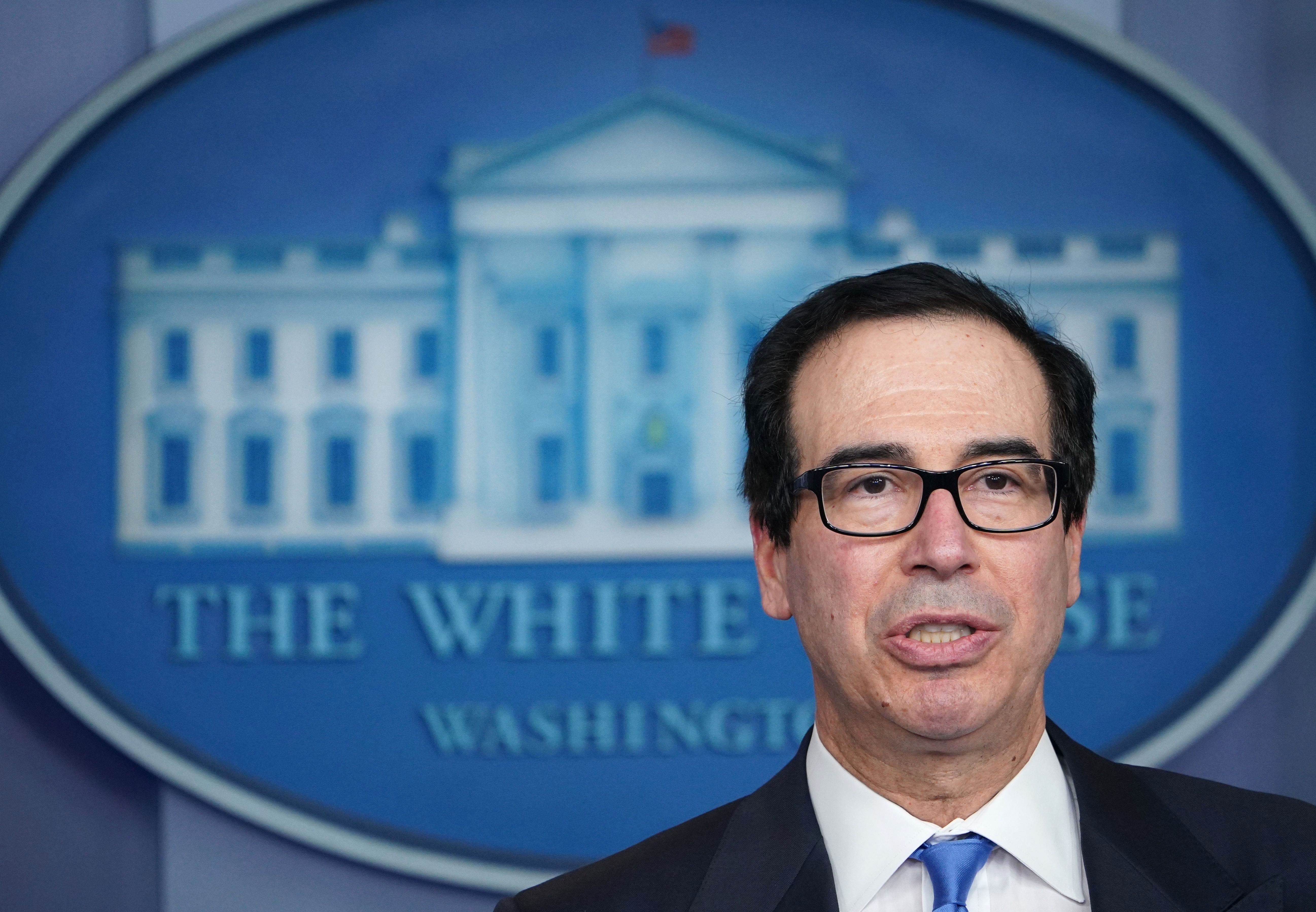 Treasury Secretary Steve Mnuchin speaks at the White House during a briefing about the novel coronavirus on April 21.