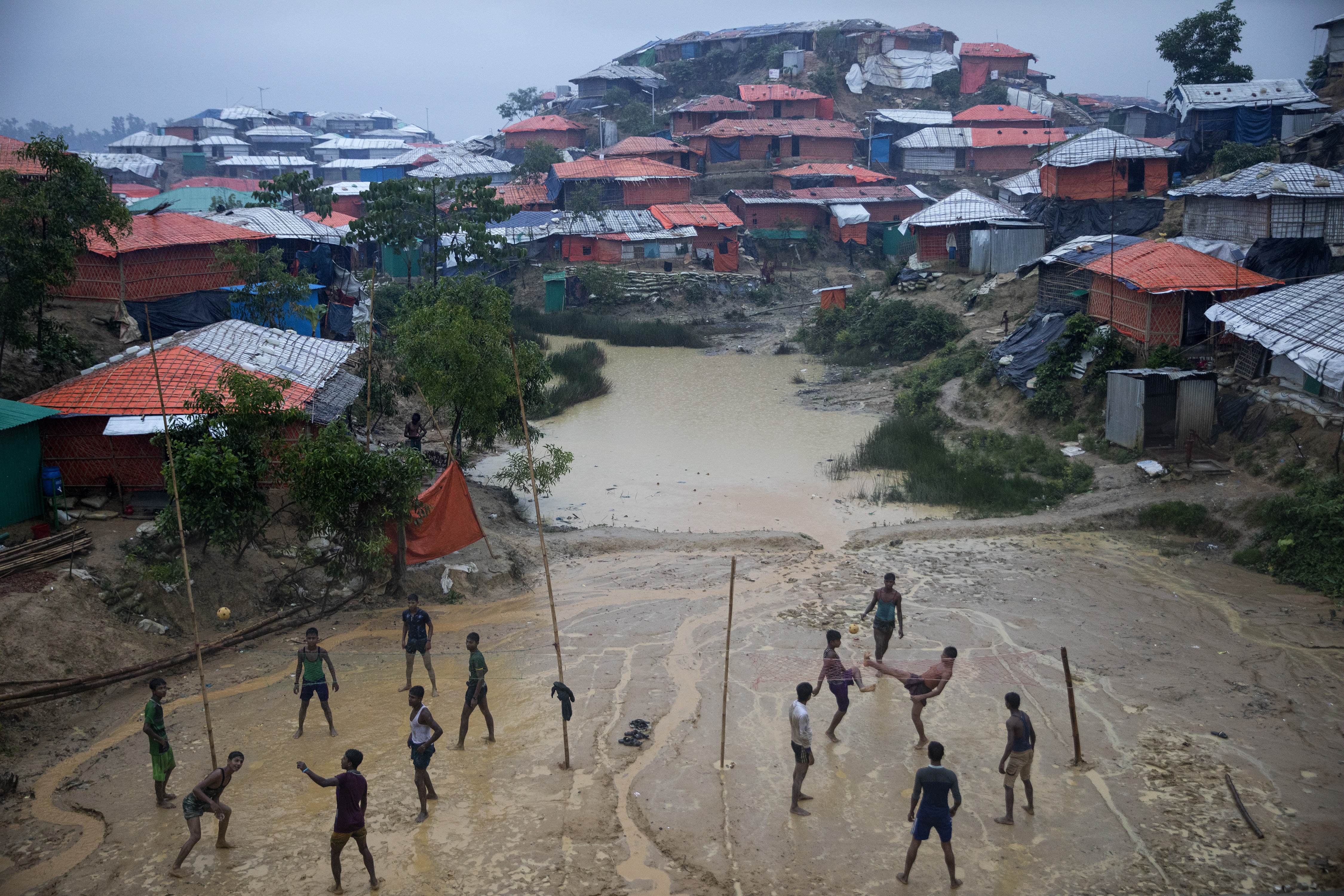 Flooding in a refugee camp in Bangladesh during monsoon season in August 2018.