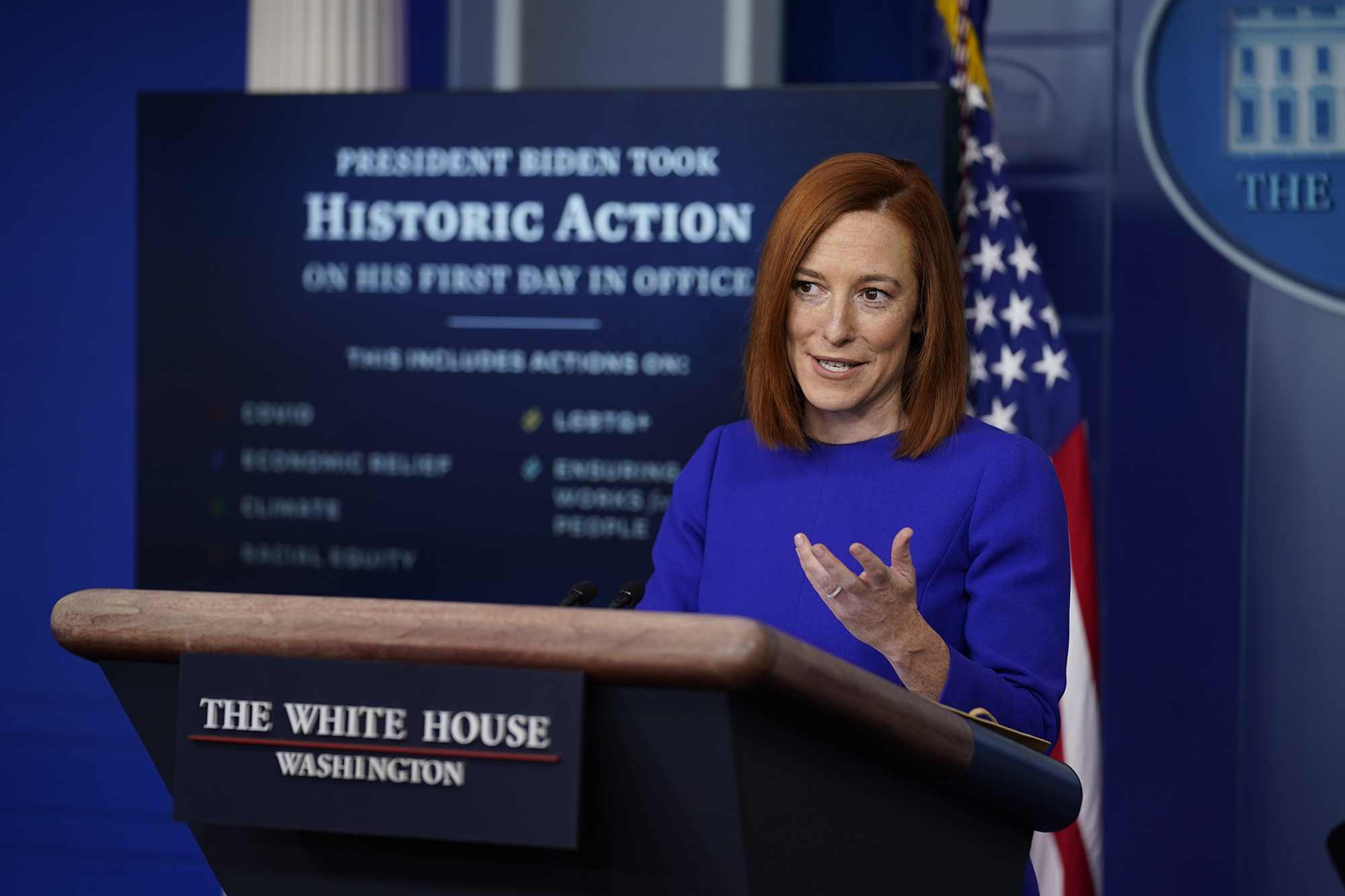 White House press secretary Jen Psaki speaks during her first press briefing at the White House on Wednesday, January 20.