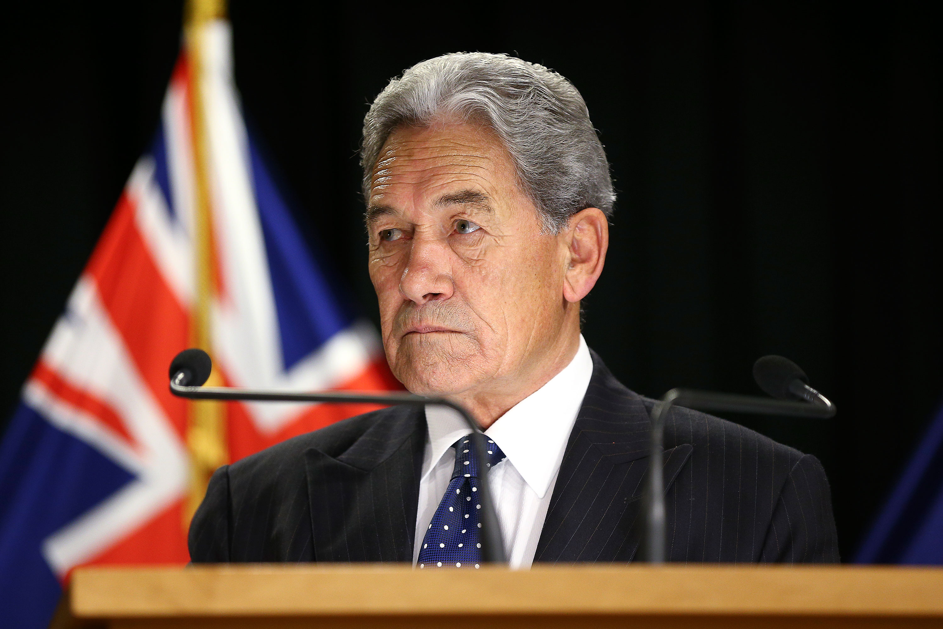 Deputy Prime Minister Winston Peters speaks at a press conference at Parliament on March 17 in Wellington, New Zealand.