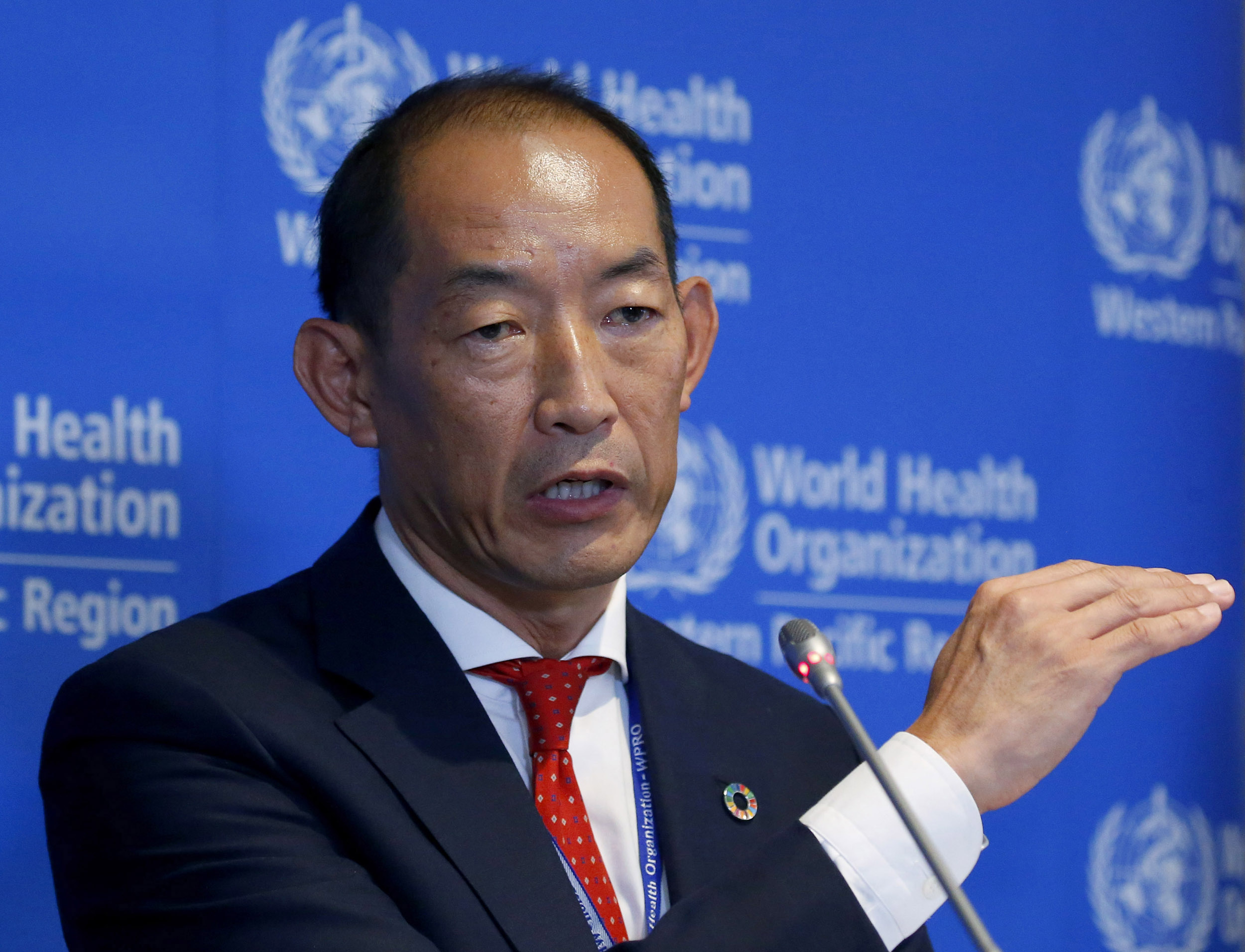 World Health Organization Regional Director for Western Pacific Takeshi Kasai addresses the media at the start of the five-day annual session in Manila, Philippines, on October 7, 2019,