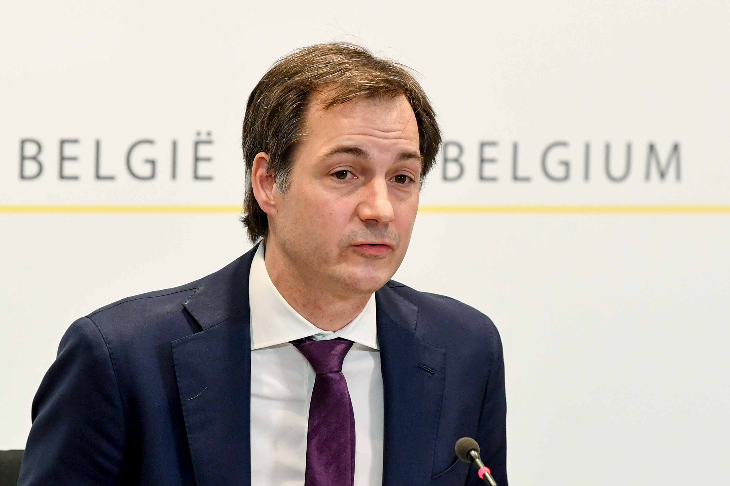 Prime Minister Alexander De Croo speaks during a press conference in Brussels on February 5.