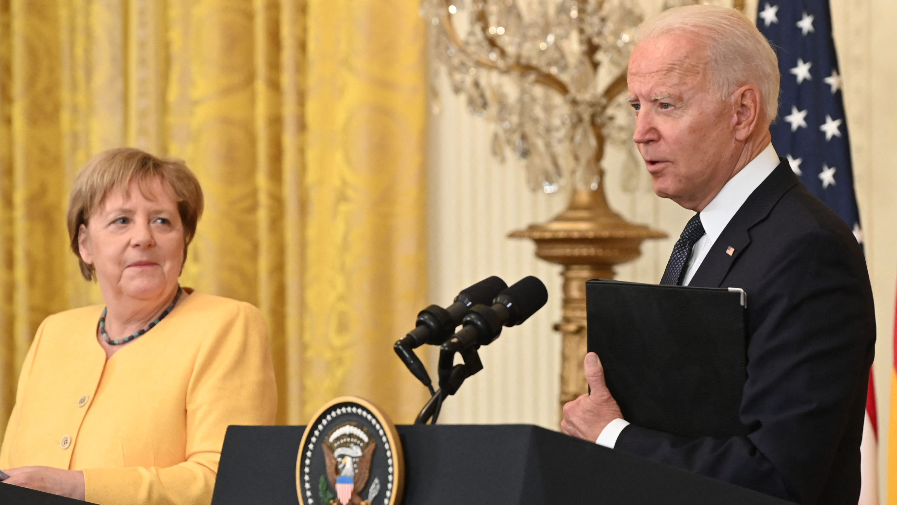 President Joe Biden and German Chancellor Angela Merkel hold a joint press conference in the East Room of the White House in Washington, DC, on July 15.