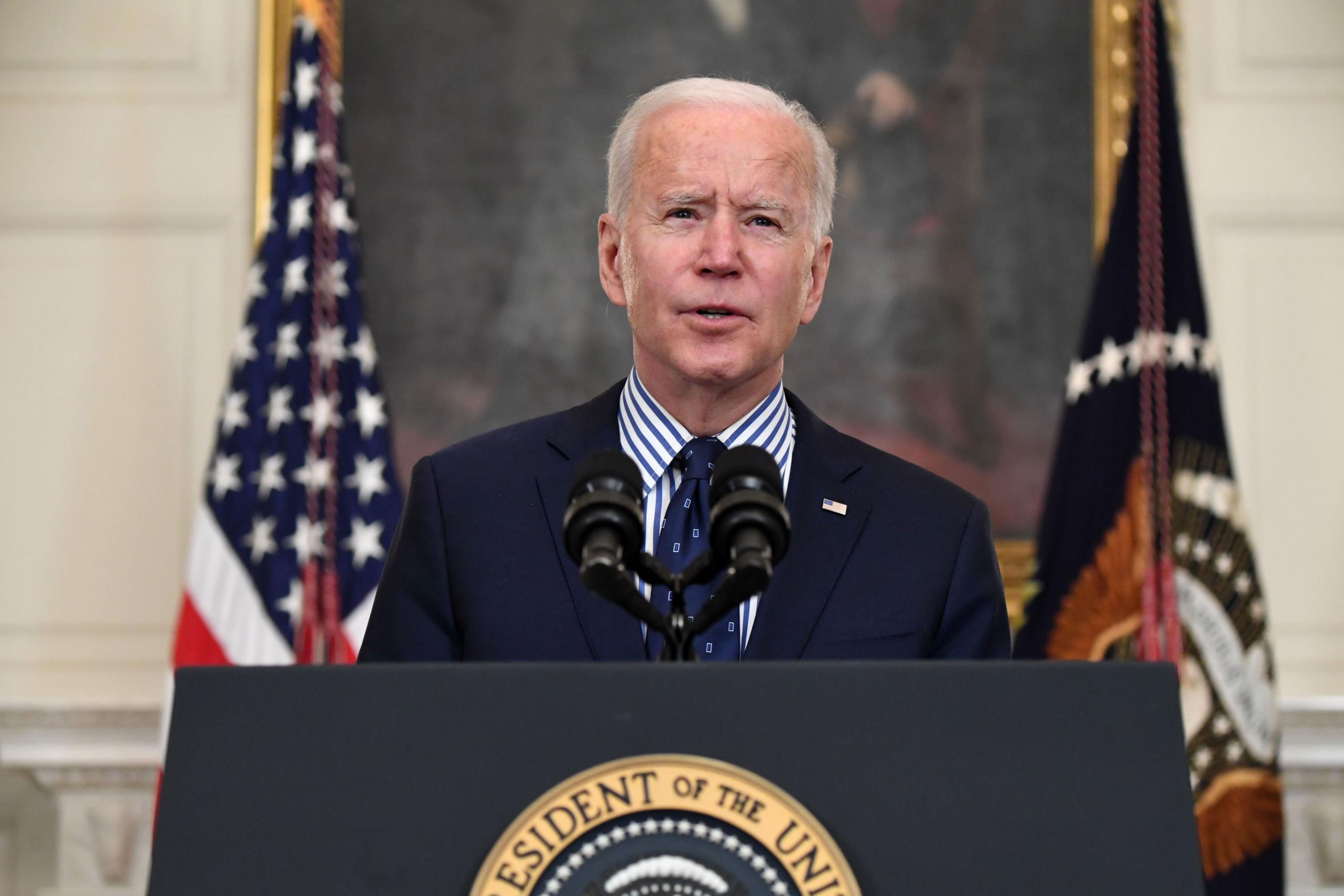 President Joe Biden gives an address at the White House on March 6, in Washington, DC.