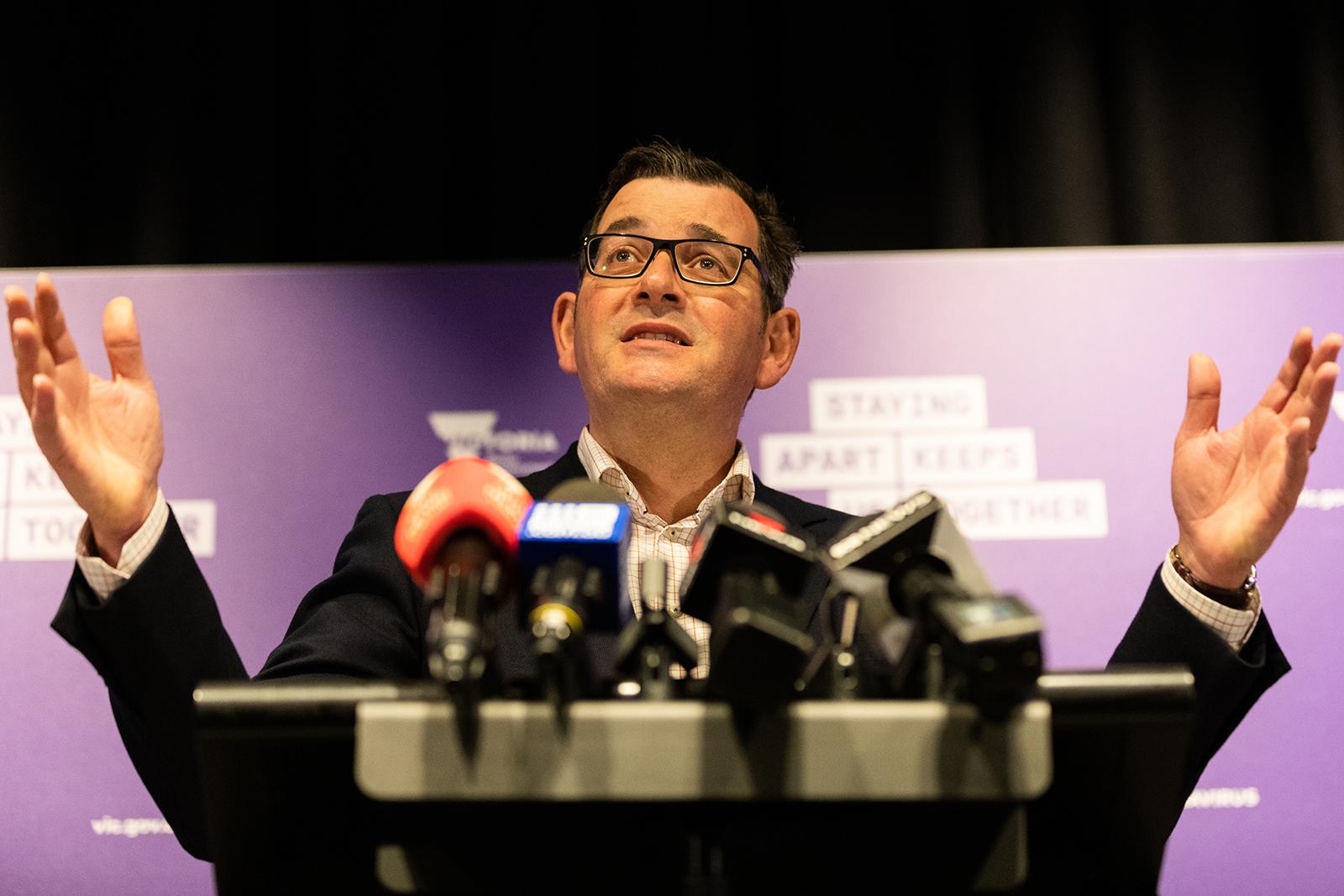 Victoria Premier Daniel Andrews speaks during a press conference on July 4, in Melbourne, Australia.
