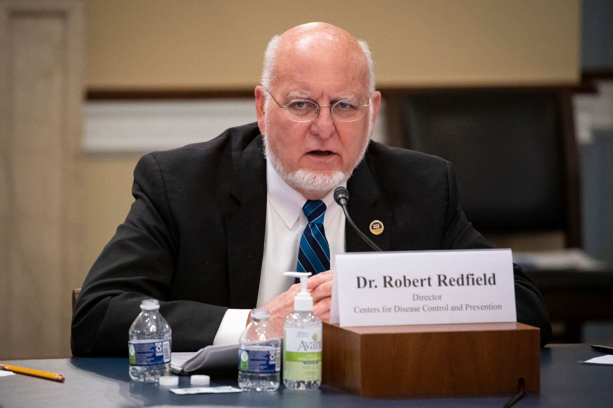 Dr. Robert Redfield, director of the Centers for Disease Control and Prevention, testifies at a Labor, Health and Human Services, Education, and Related Agencies Appropriations Subcommittee hearing about the COVID-19 response on Capitol Hill in Washington on June 4.