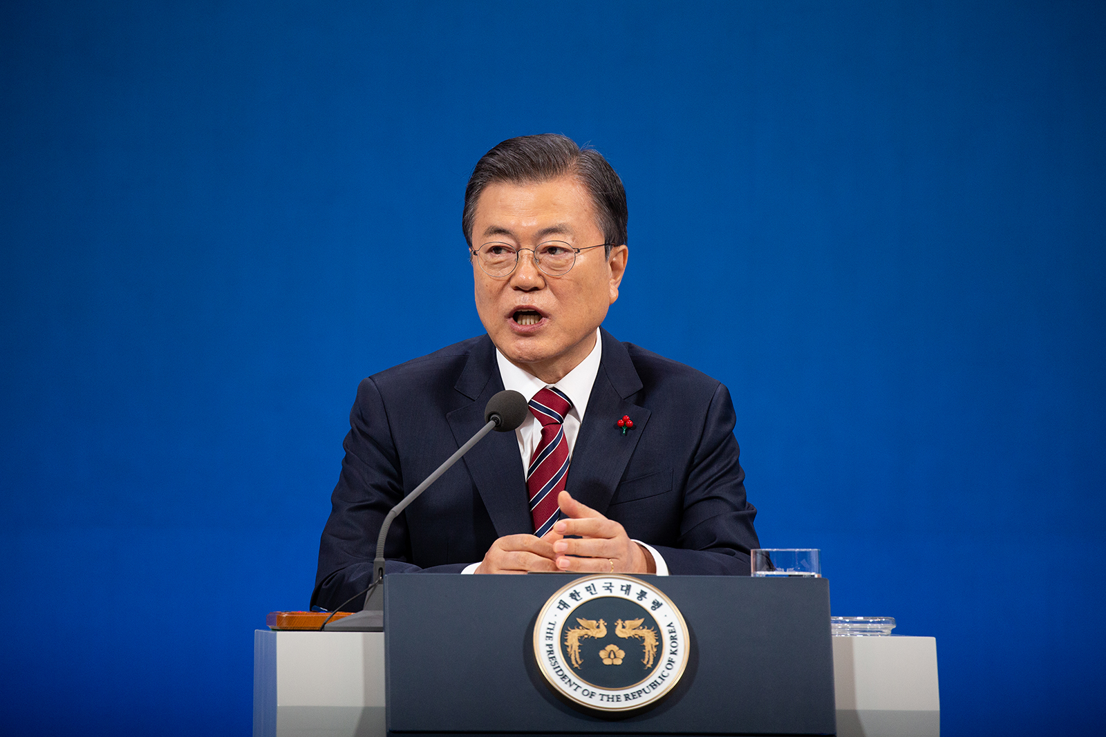 President Moon Jae-in speaks during a news conference at the Presidential Blue House in Seoul, South Korea, on January 18.