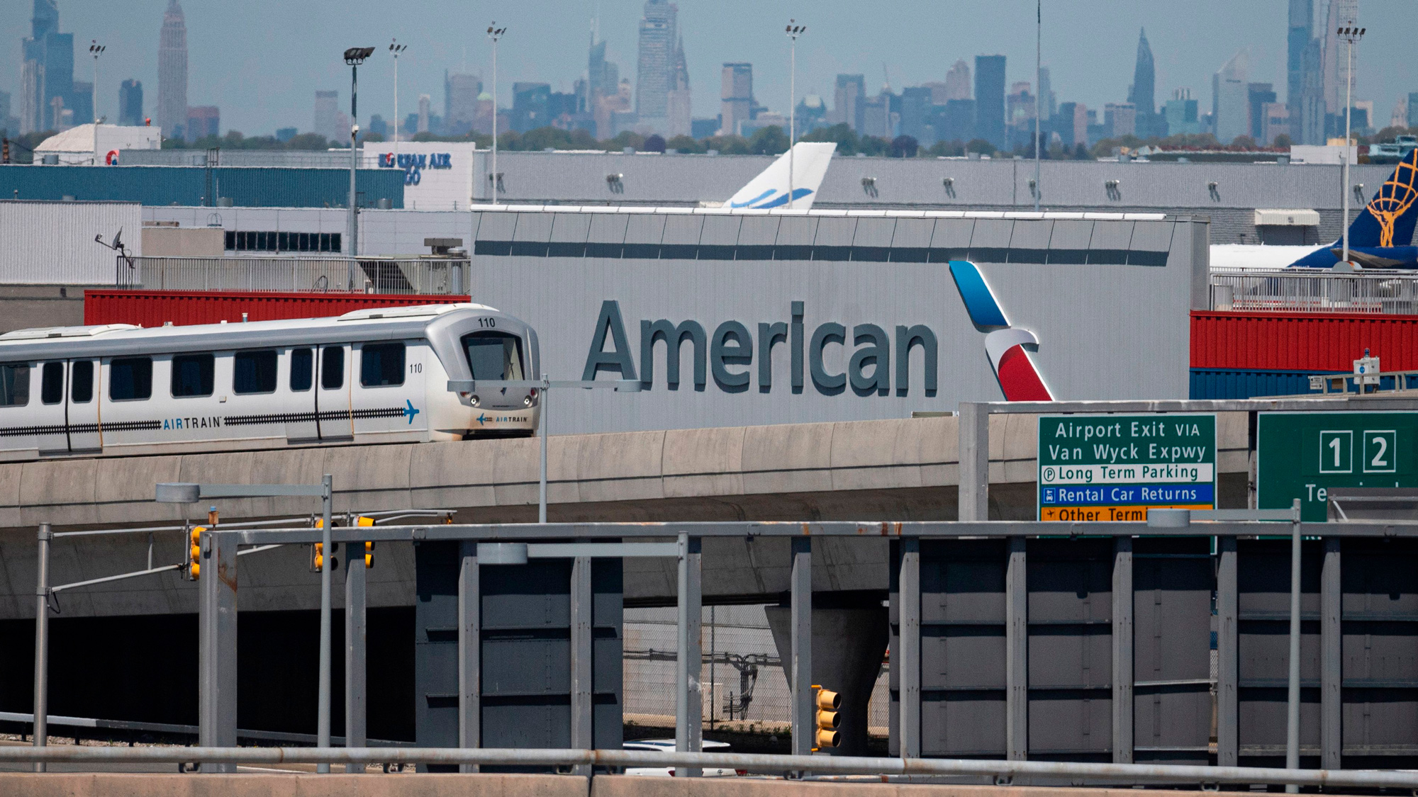The American Airlines logo is seen at John F. Kennedy Airport on May 13 in Queens, New York.
