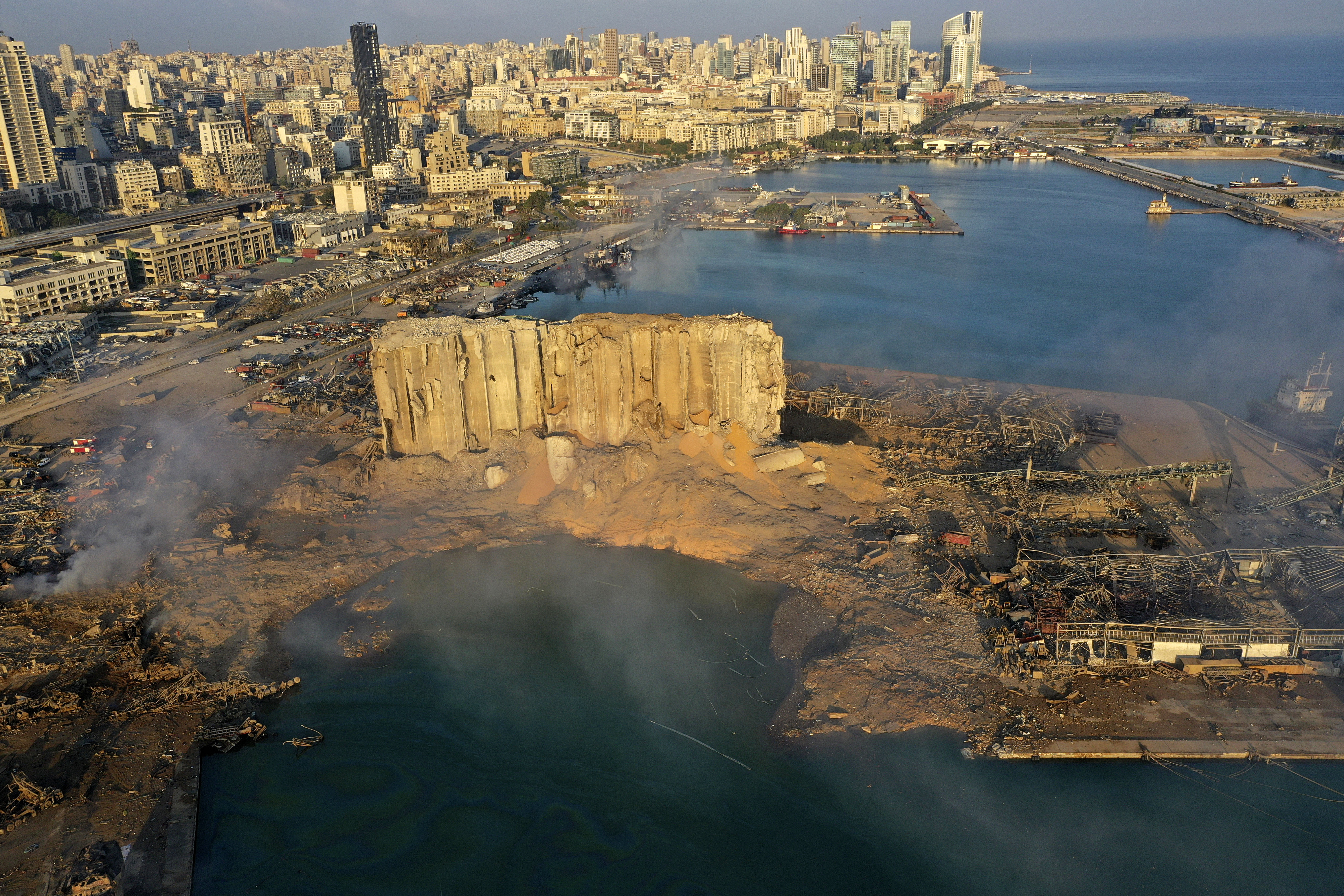 An August 5 drone picture shows the aftermath of an explosion at the seaport of Beirut.