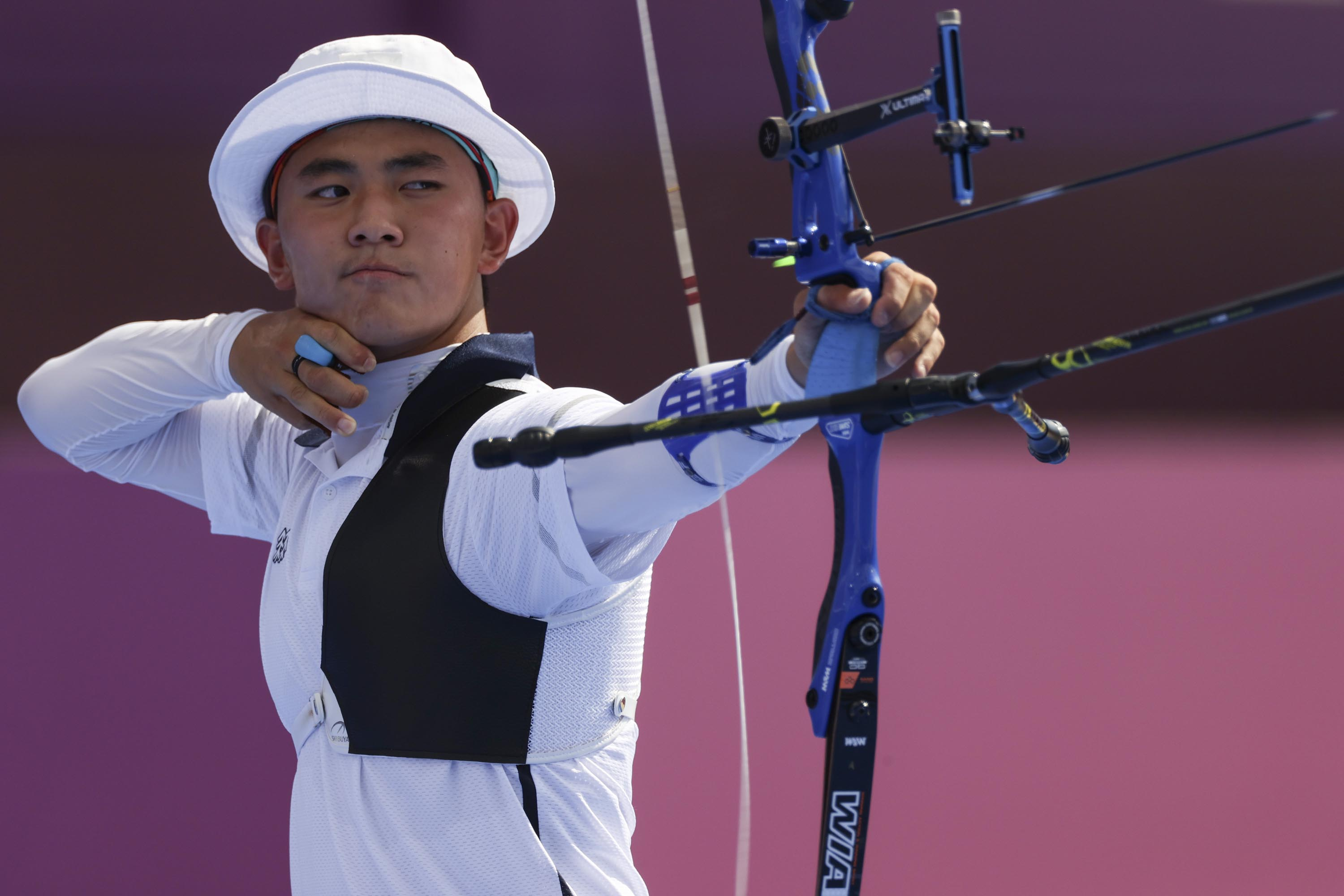 Kim Je Deok of South Korea competes in at Yumenoshima Park Archery Field on July 27, in Tokyo.