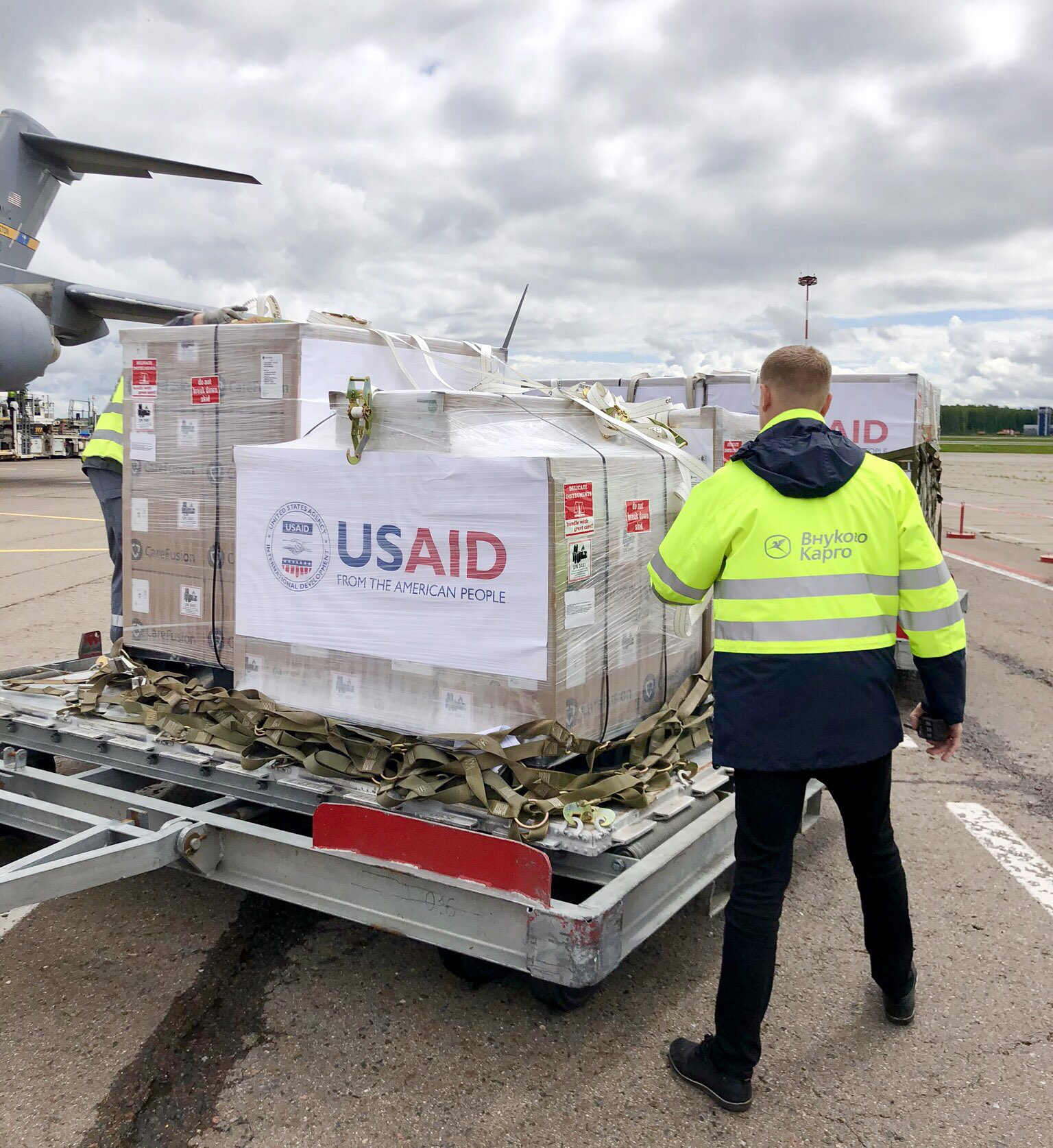 Rebecca Ross, spokesperson at the US Embassy in Moscow, posted this image on Twitter on June 4. It shows a shipment of US-made ventilators arriving in Russia, according to Ross.