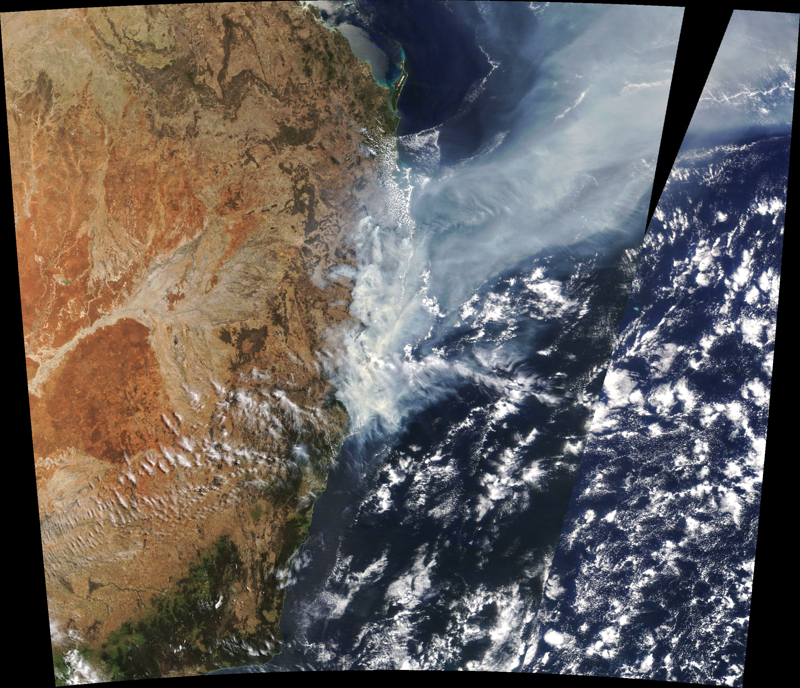 A natural-color image of the smoke, which was acquired on NASA's Terra satellite on November 11.