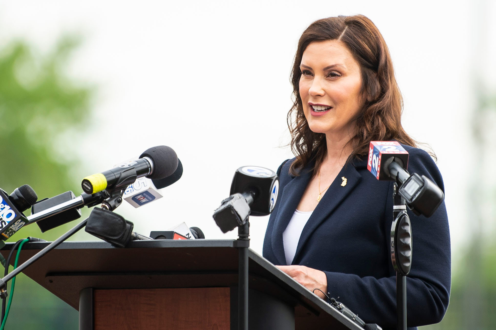 Michigan Gov. Gretchen Whitmer speaks during a press conference about the state's Covid-19 response on Thursday, May 20, in Midland, Michigan.