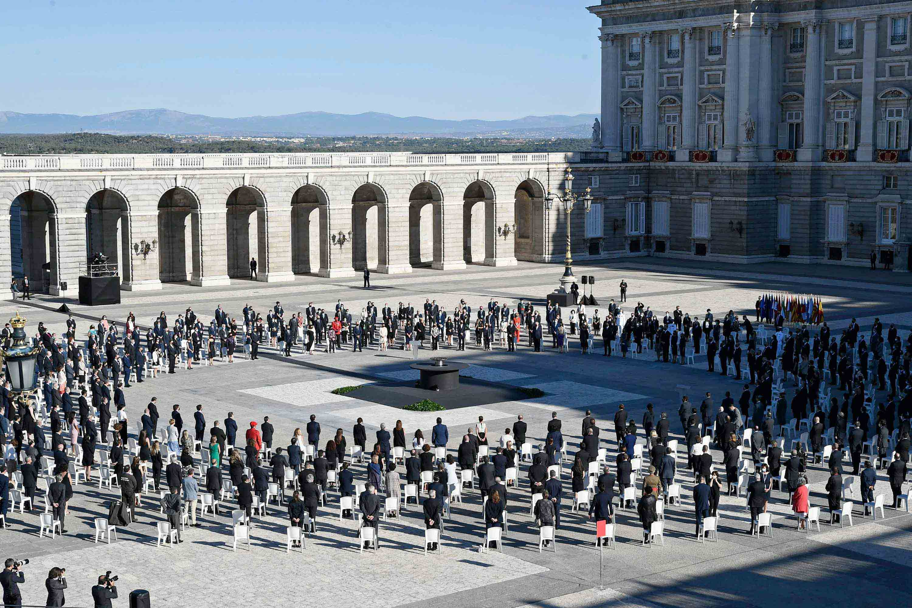 The tribute ceremony to the victims of the coronavirus takes place at the Royal Palace in Madrid on Thursday.