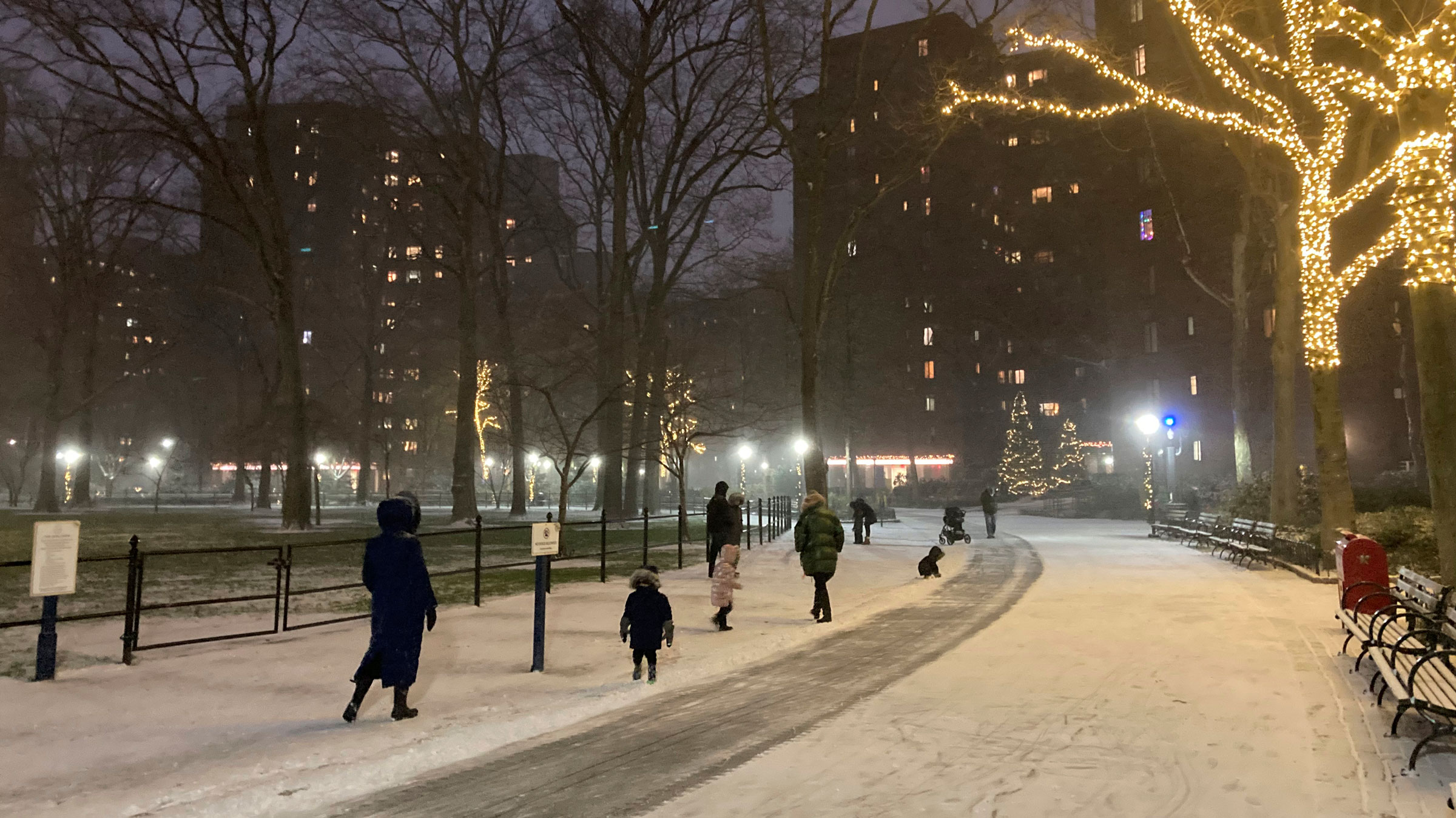 Snow begins to fall in New York City on Wednesday.
