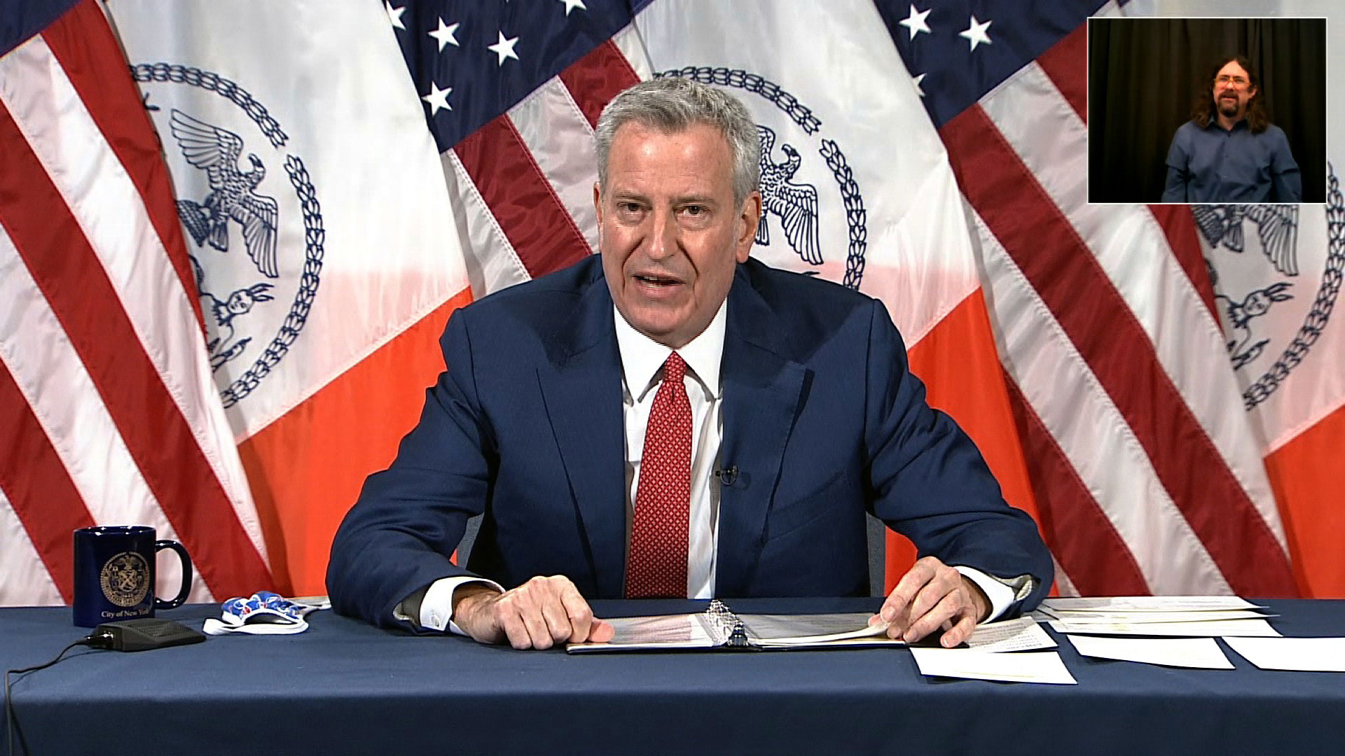 New York City Mayor Bill de Blasio speaks at a press conference in New York on January 6.