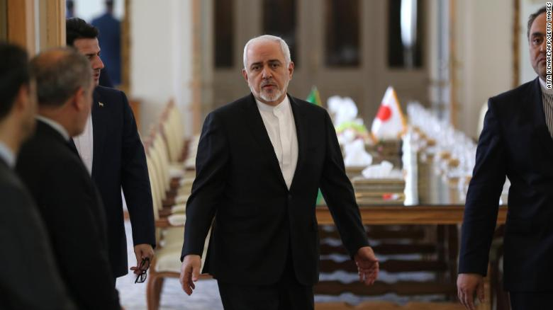 Iranian Foreign Minister Mohammad Javad Zarif arrives to meet his Japanese counterpart in Tehran on June 12.