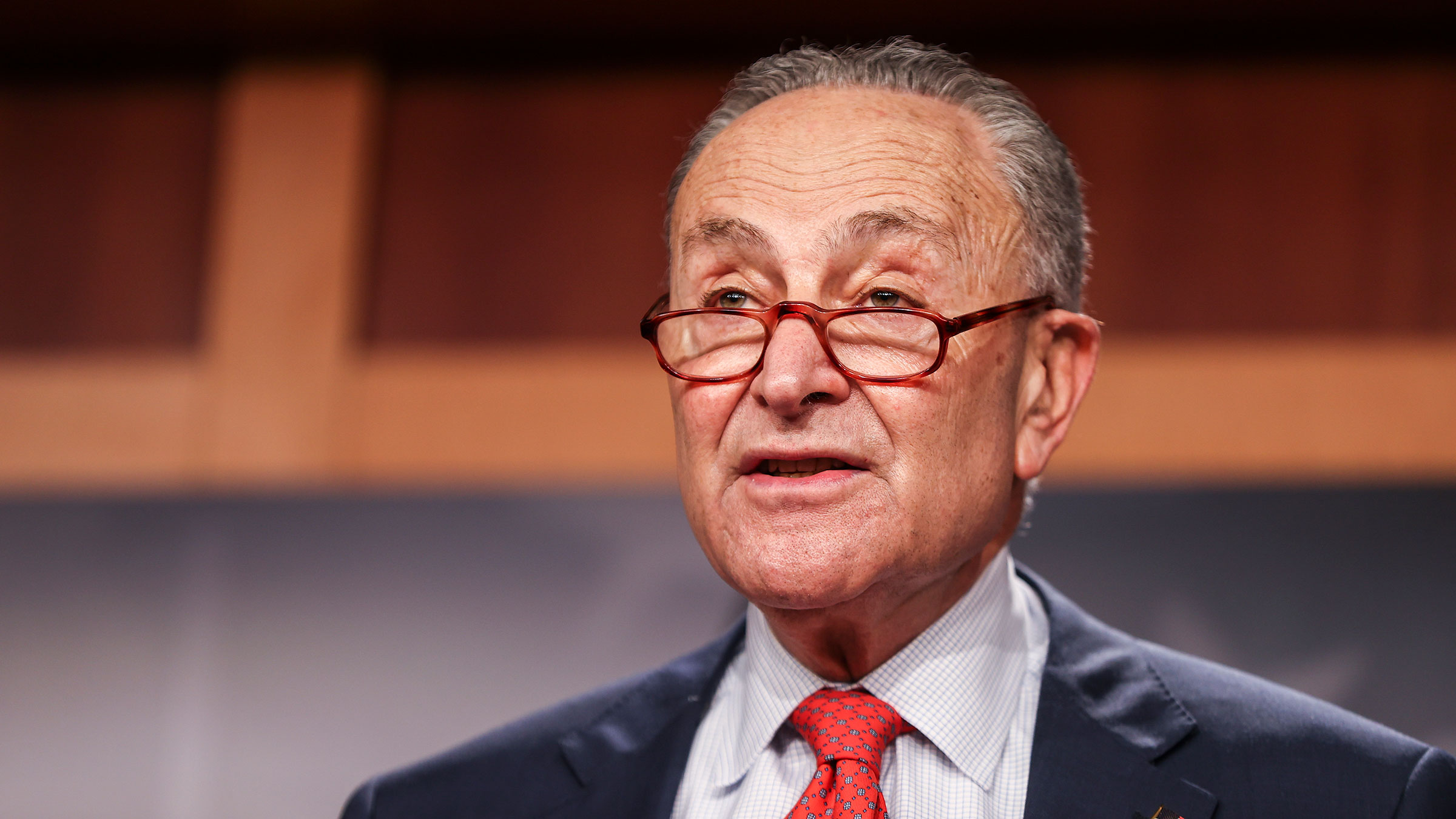 Senate Minority Leader Chuck Schumer speaks at a press conference on Capitol Hill on December 15 in Washington, DC.