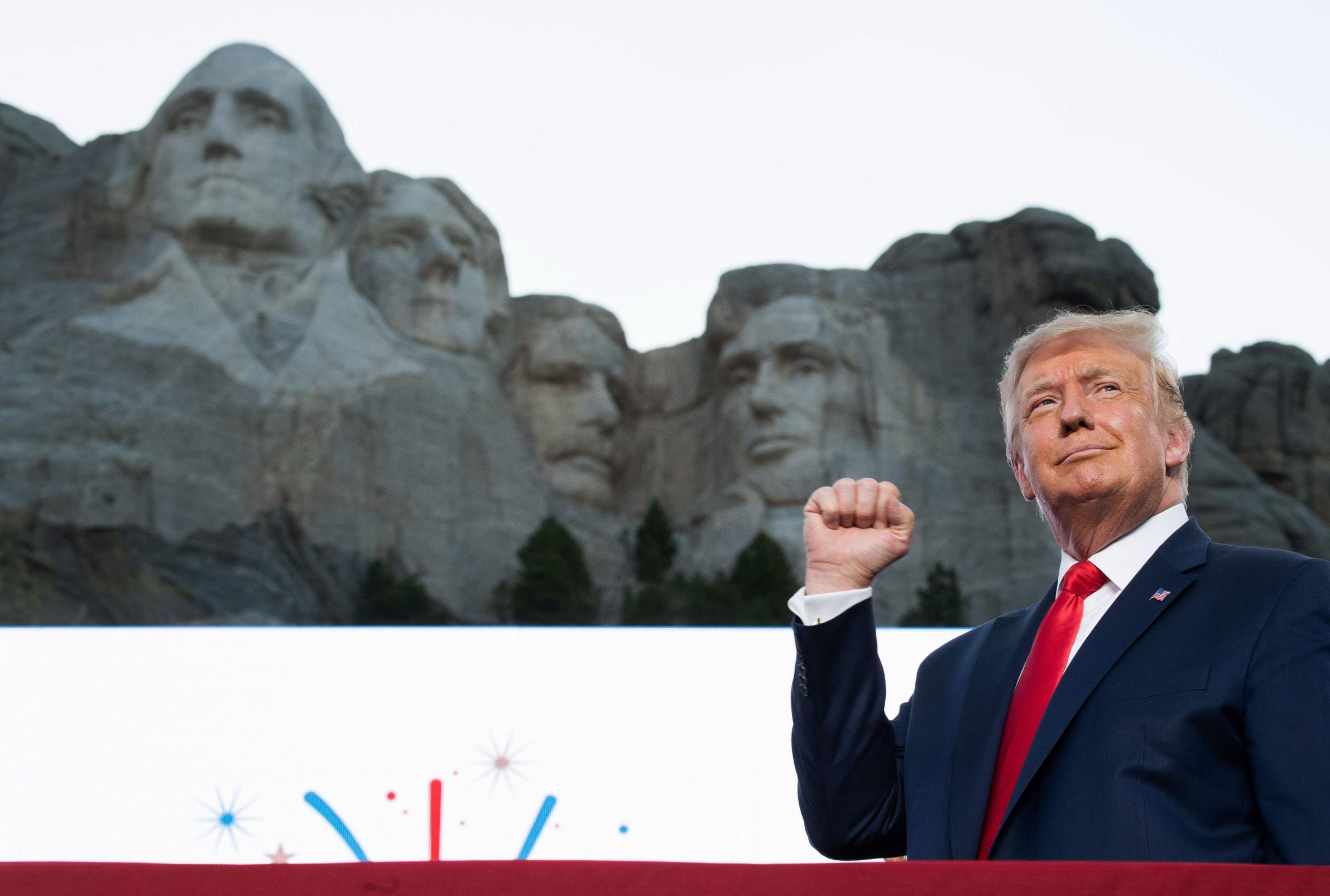 US President Donald Trump at Mount Rushmore.