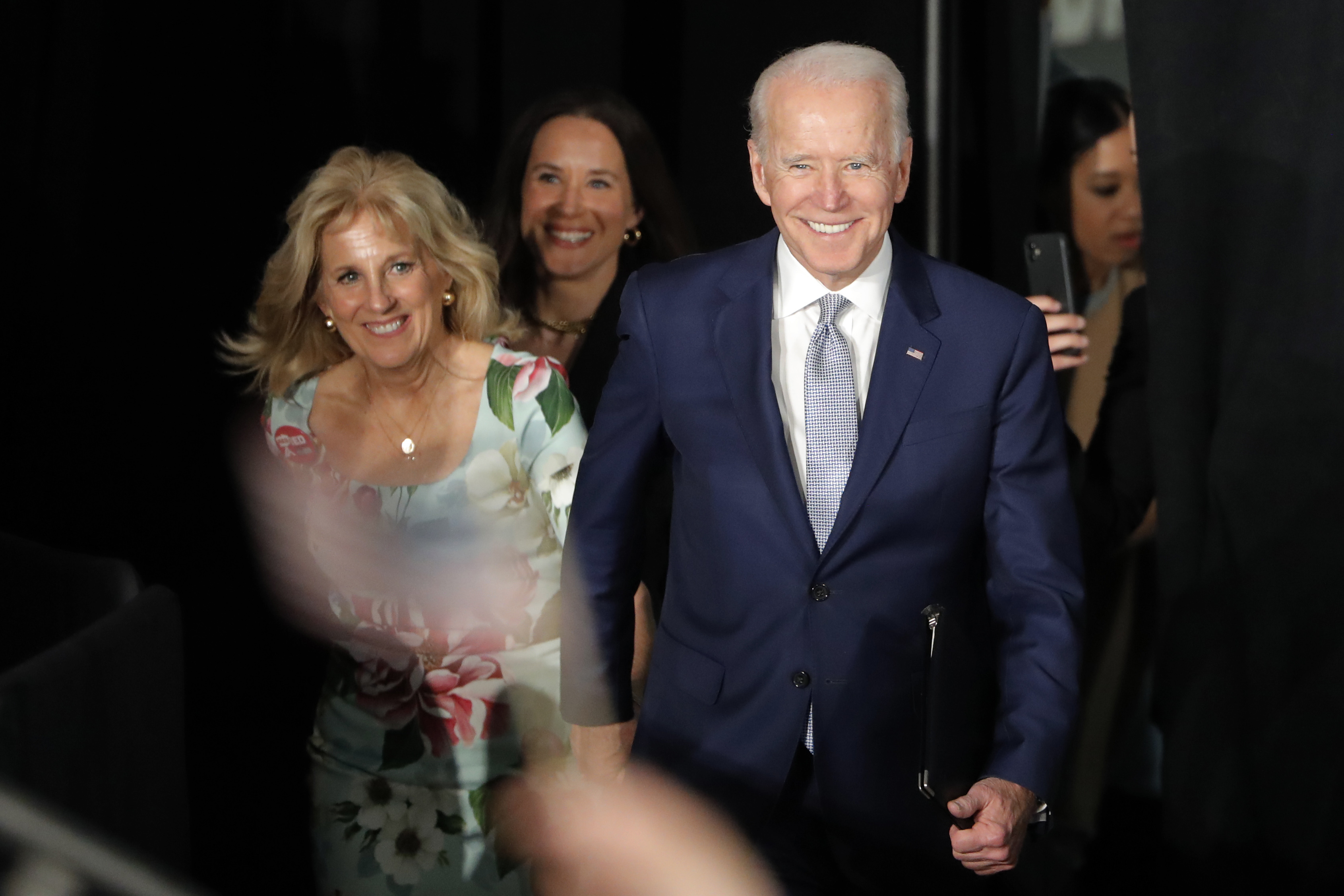 Democratic presidential candidate former Vice President Joe Biden arrives for a primary night election rally in Columbia, S.C., Saturday, February 29.