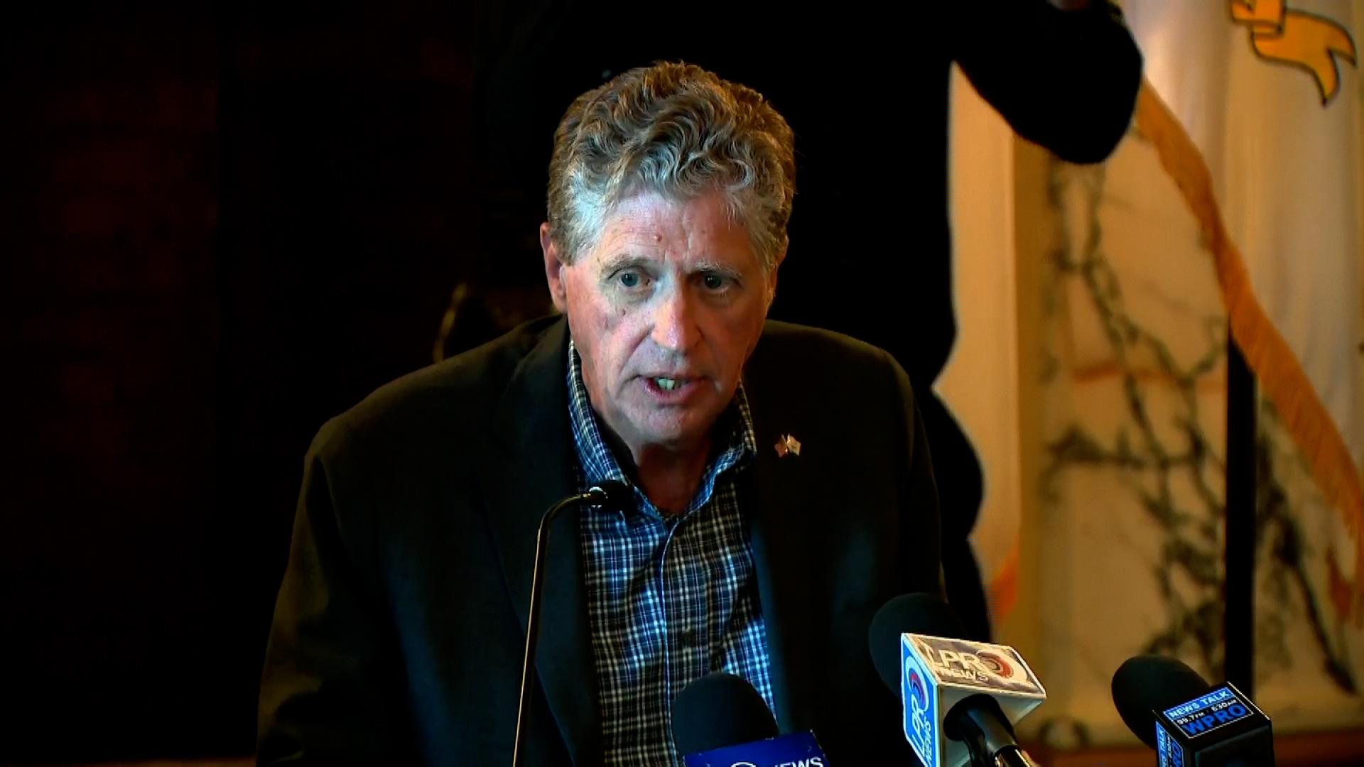 Rhode Island Gov. Dan McKee speaks during a press conference on June 17.