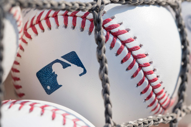 A baseball with MLB logo is seen on June 28, 2018 in Philadelphia, Pennsylvania.
