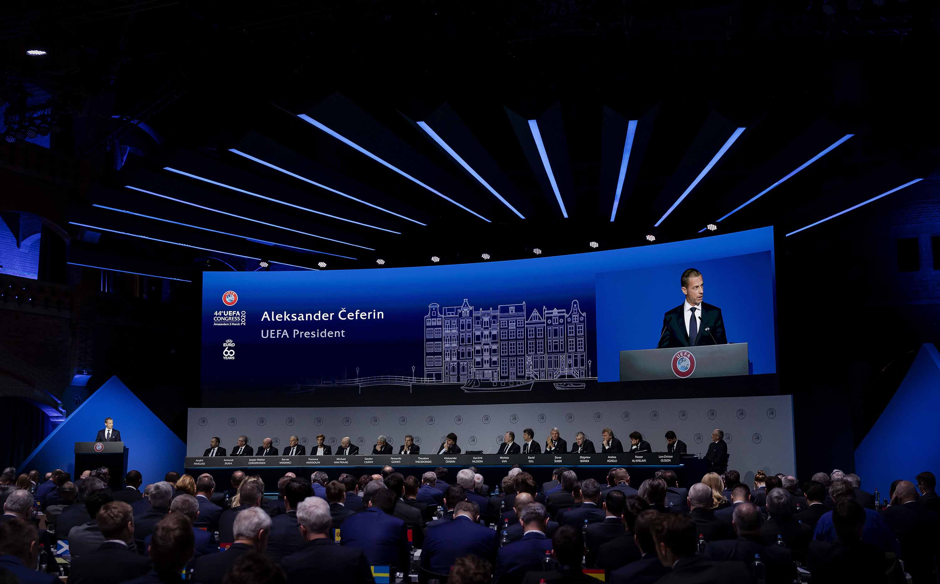 UEFA president Aleksander Ceferin speaks during the 44th Ordinary UEFA Congress in Amsterdam, the Netherlands, on Tuesday.