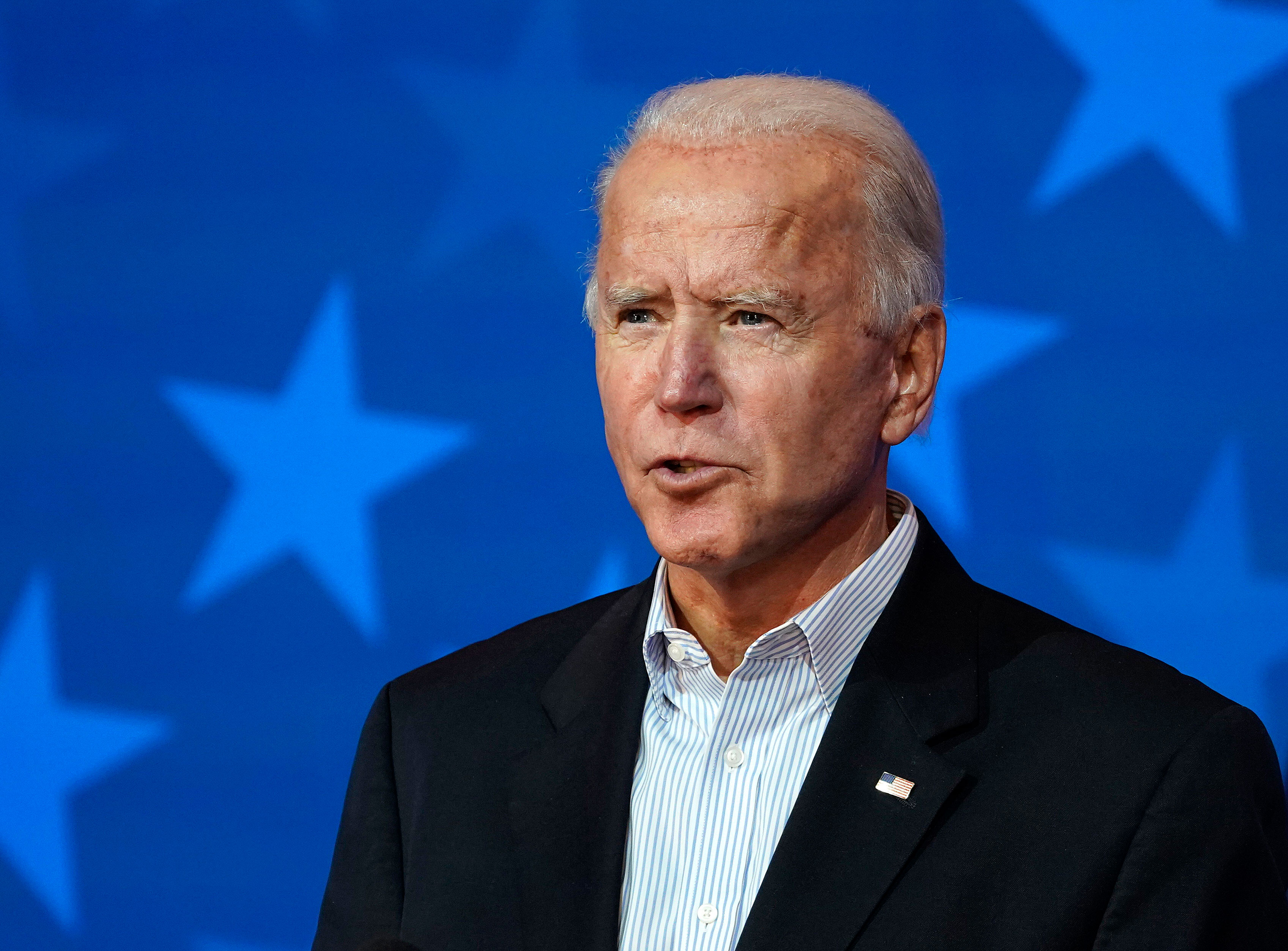 Democratic presidential nominee Joe Biden speaks in Wilmington, Delaware, on November 5.