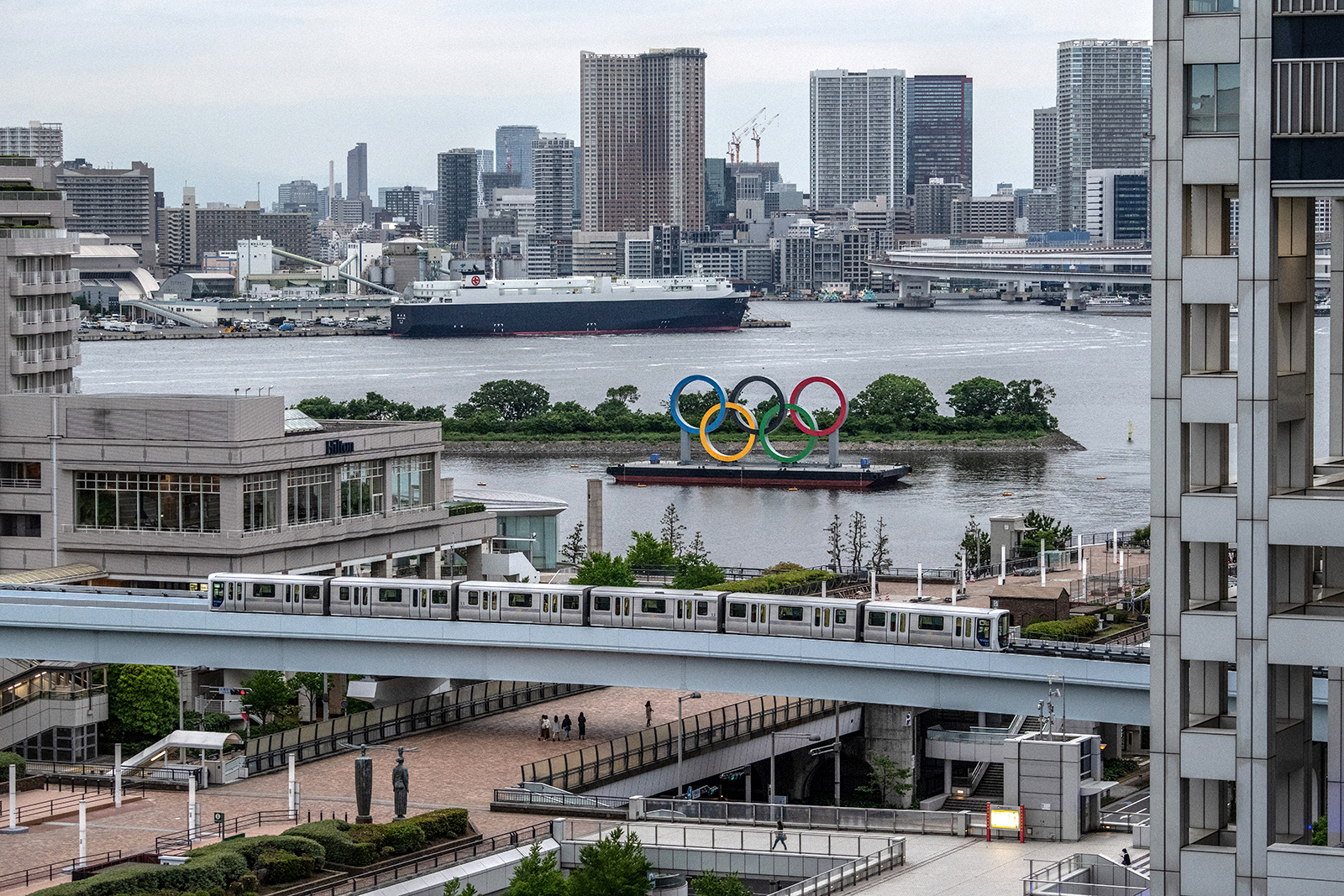 The Olympic Rings are displayed by the Odaiba Marine Park Olympic venue in Tokyo, Japan, on May 12.