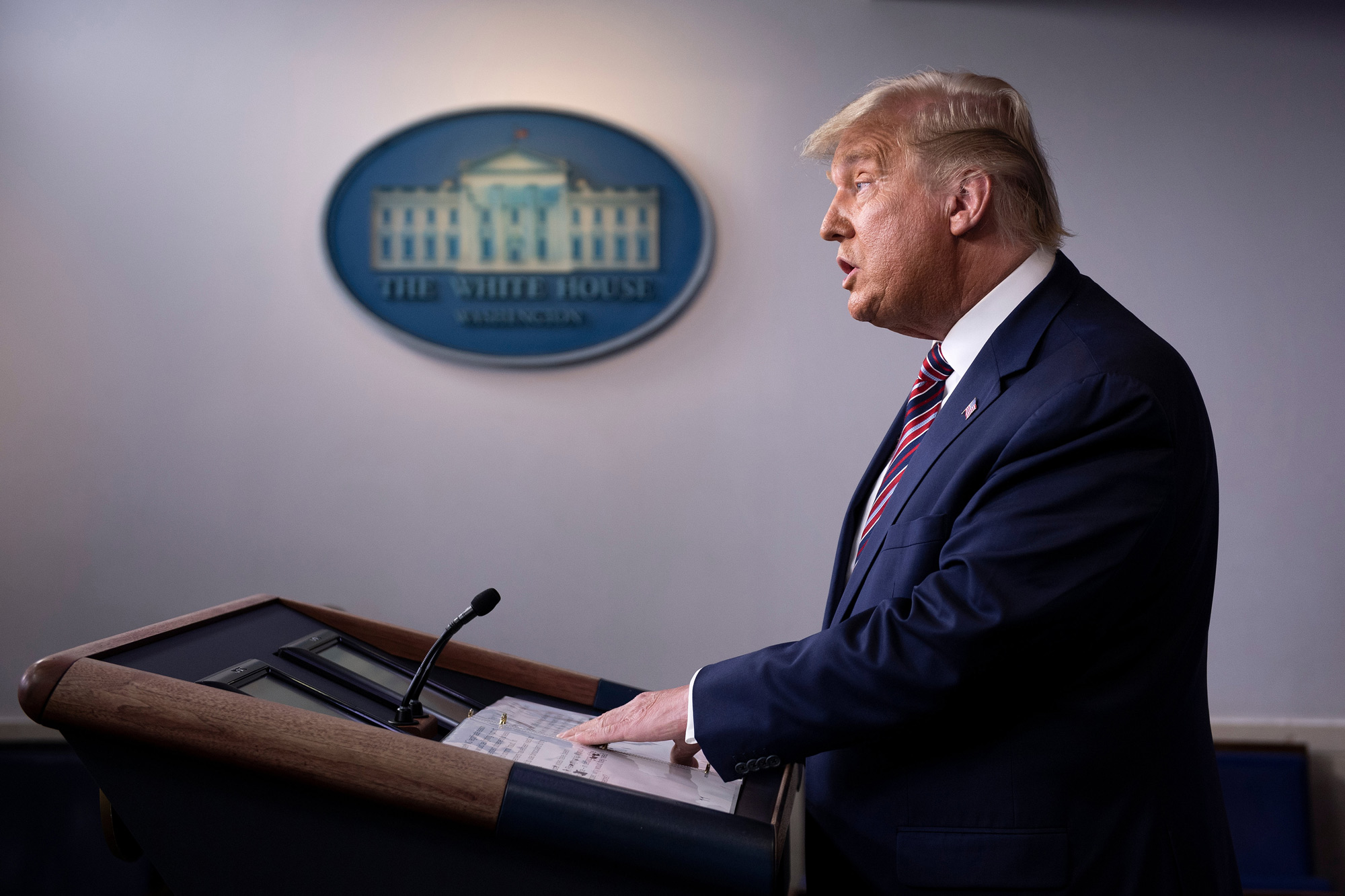President Donald Trump speaks in the Brady Briefing Room at the White House in Washington, DC, on November 5.