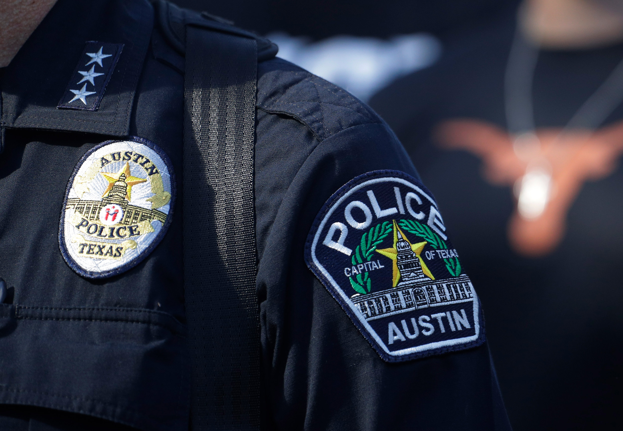 Members of the Austin police department march to the State Capitol in Austin, on June 4 to protest the death of George Floyd,