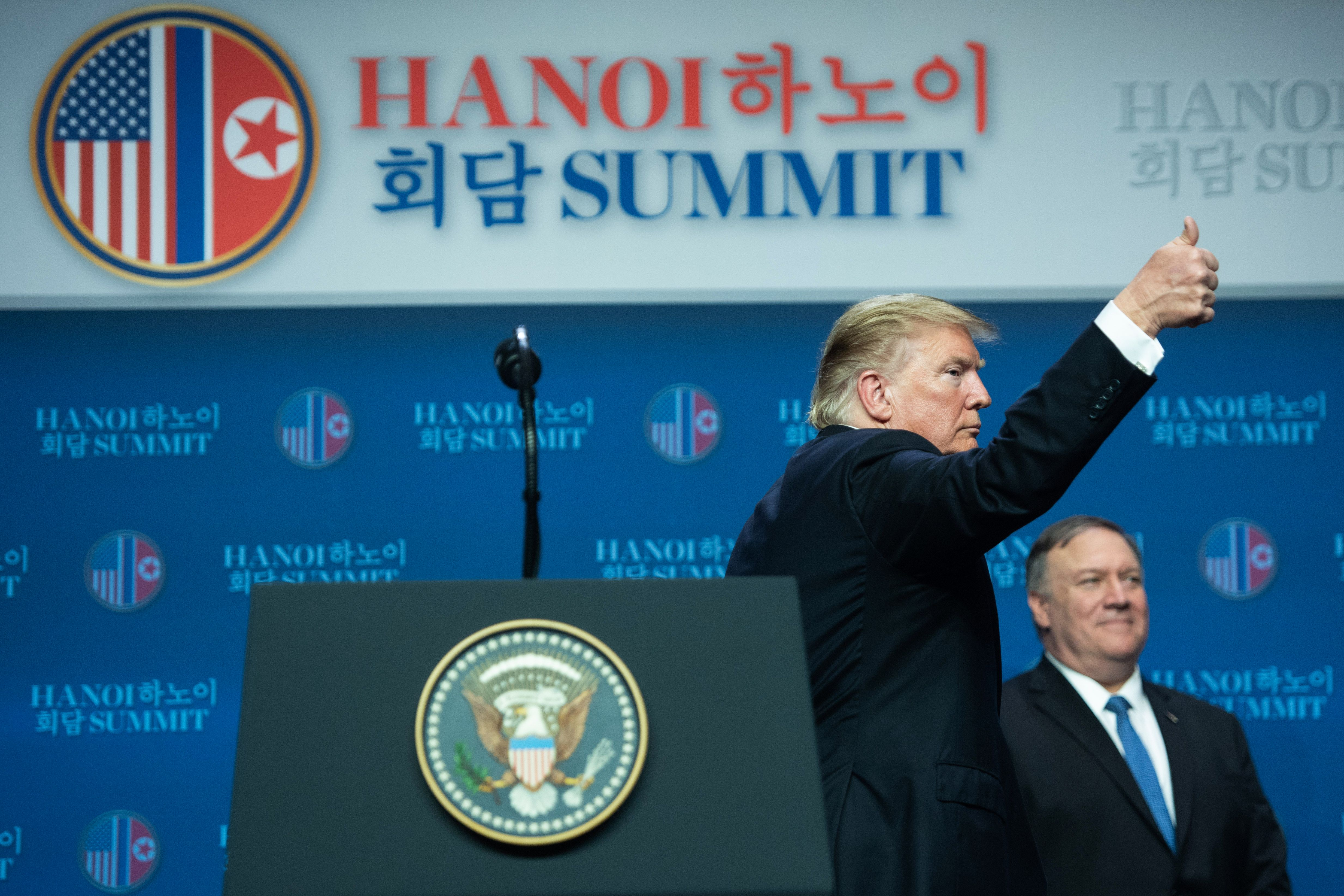 US President Donald Trump at the second US-North Korea summit in Hanoi on February 28, 2019.