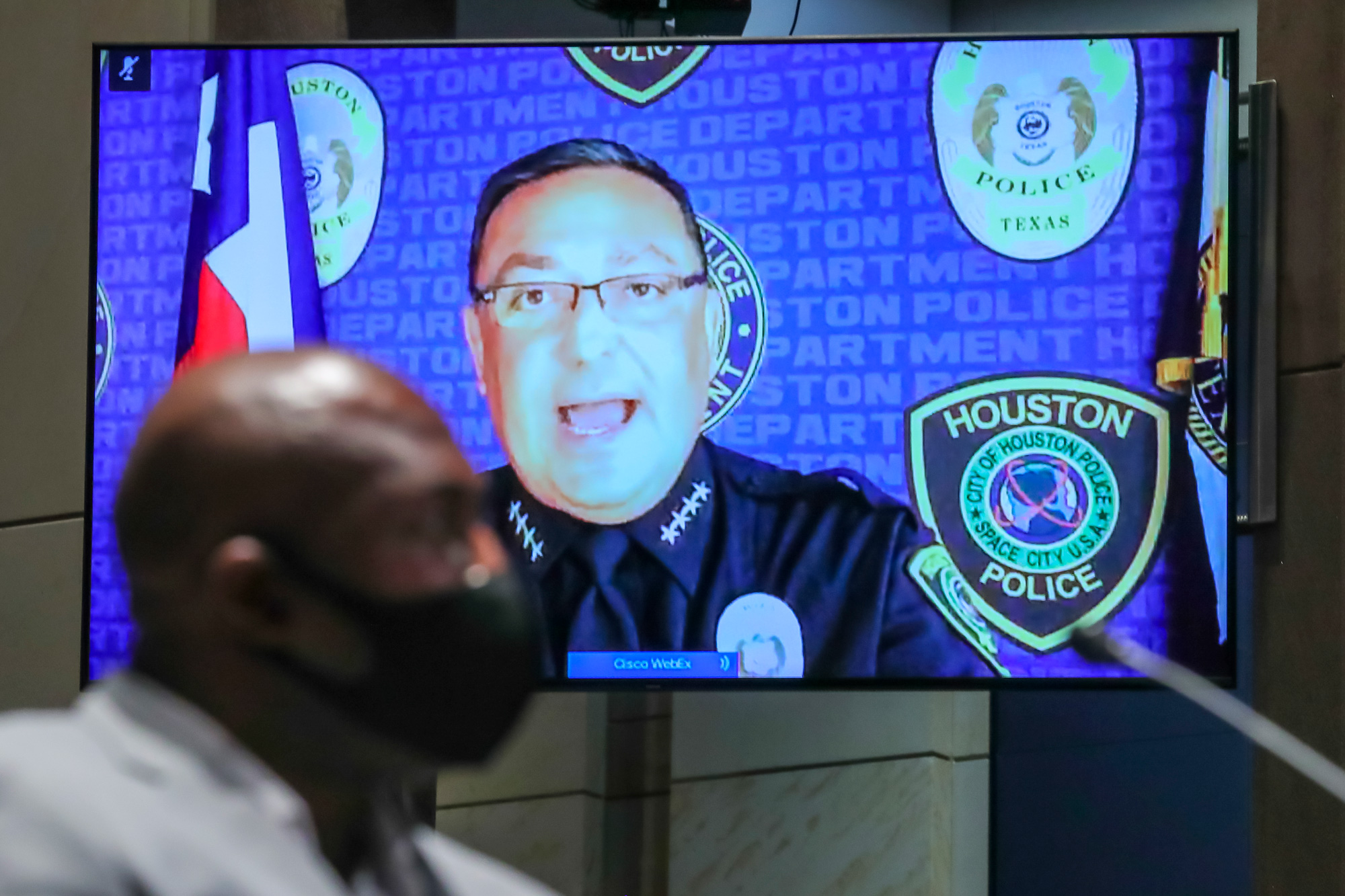 Houston Police Chief Art Acevedo gives his opening statement over video as Philonise Floyd, brother of George Floyd, listens during the House Judiciary Committee hearing on Policing Practices and Law Enforcement Accountability at the U.S. Capitol on June 10 in Washington.