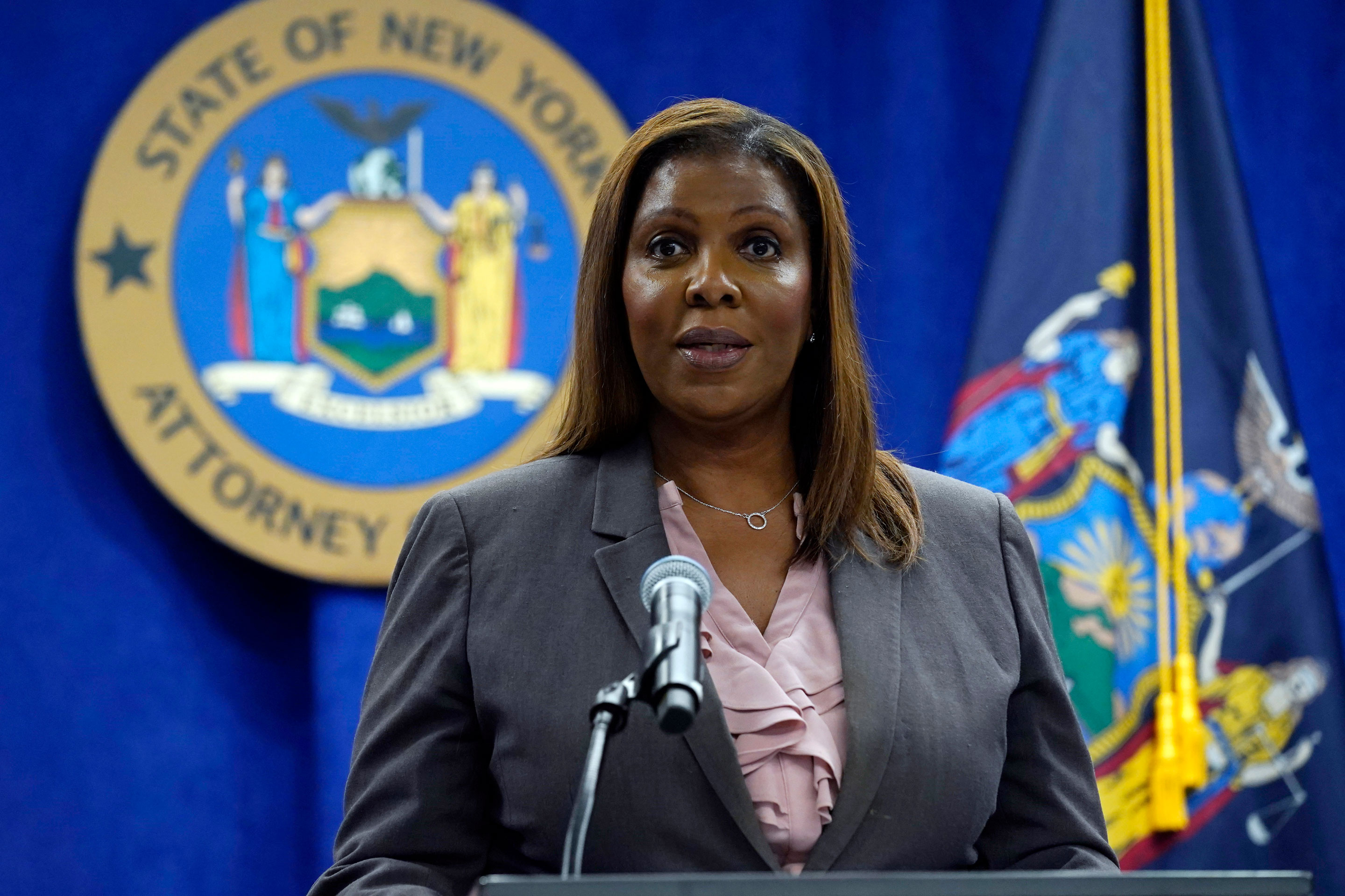 New York Attorney General Letitia James speaks at a news conference on Friday, May 21, in New York.