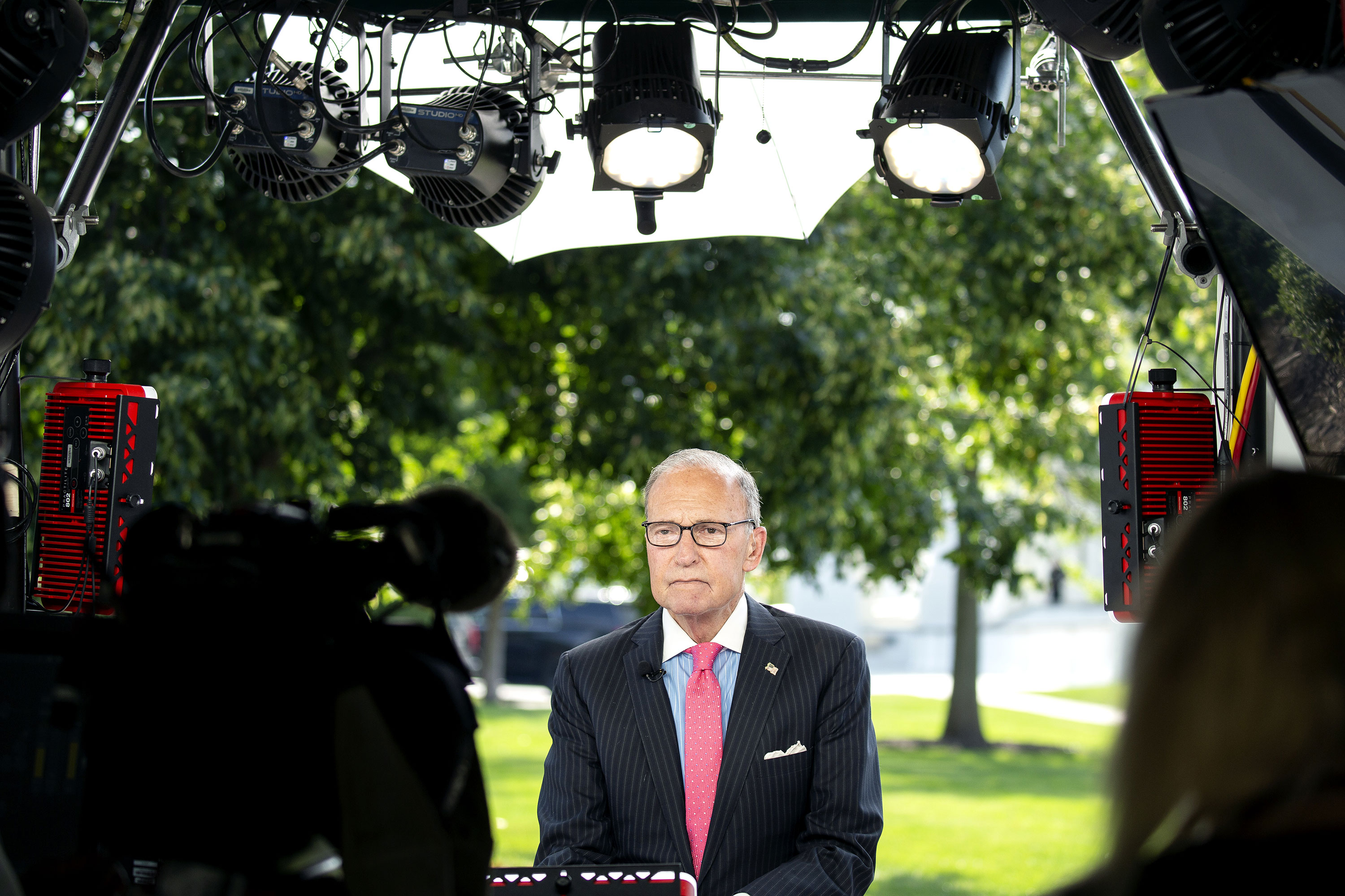 Larry Kudlow during a television interview outside the White House on July 17.